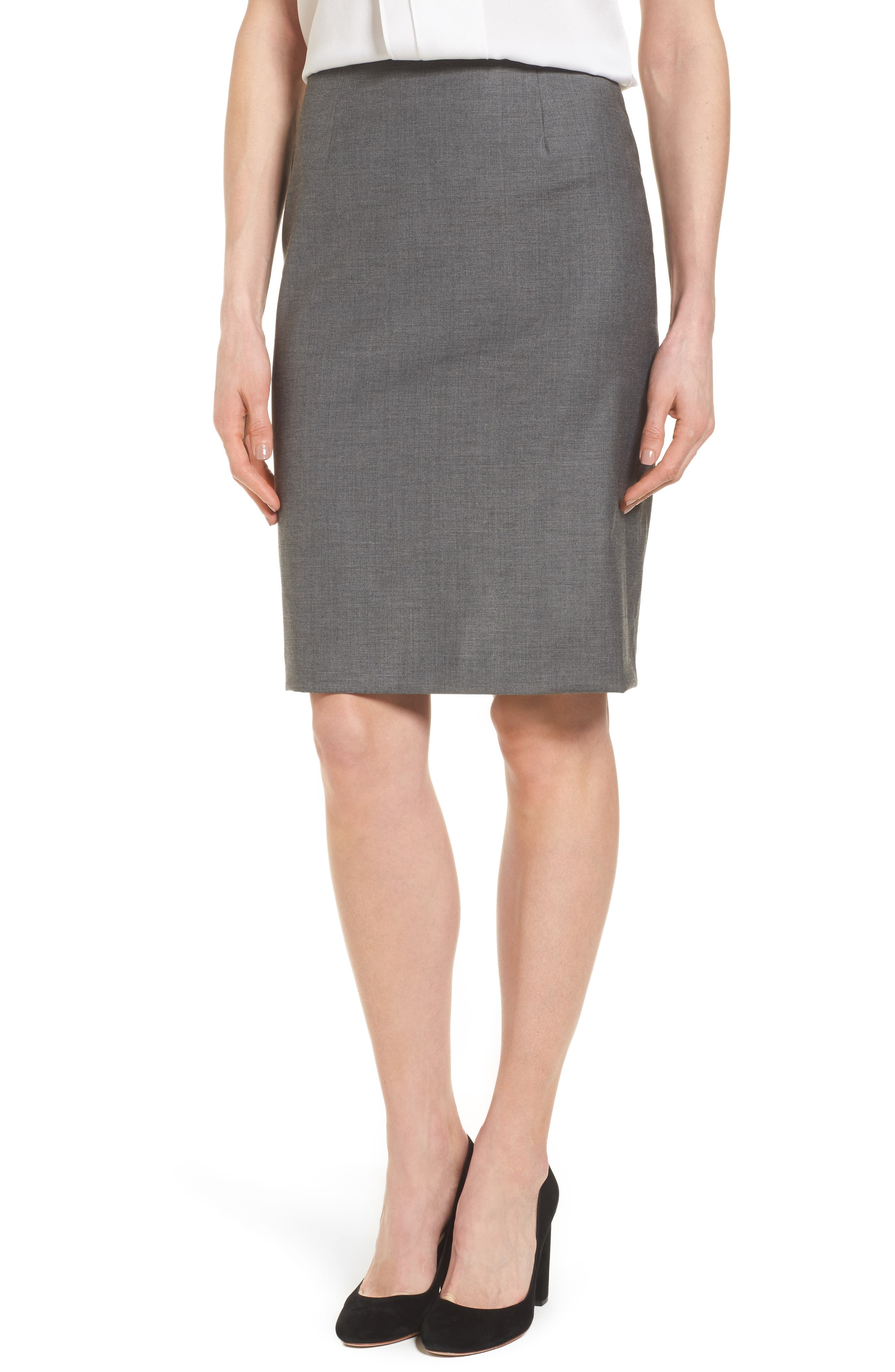 Main Image - BOSS Vileana Wool Blend Suit Skirt
