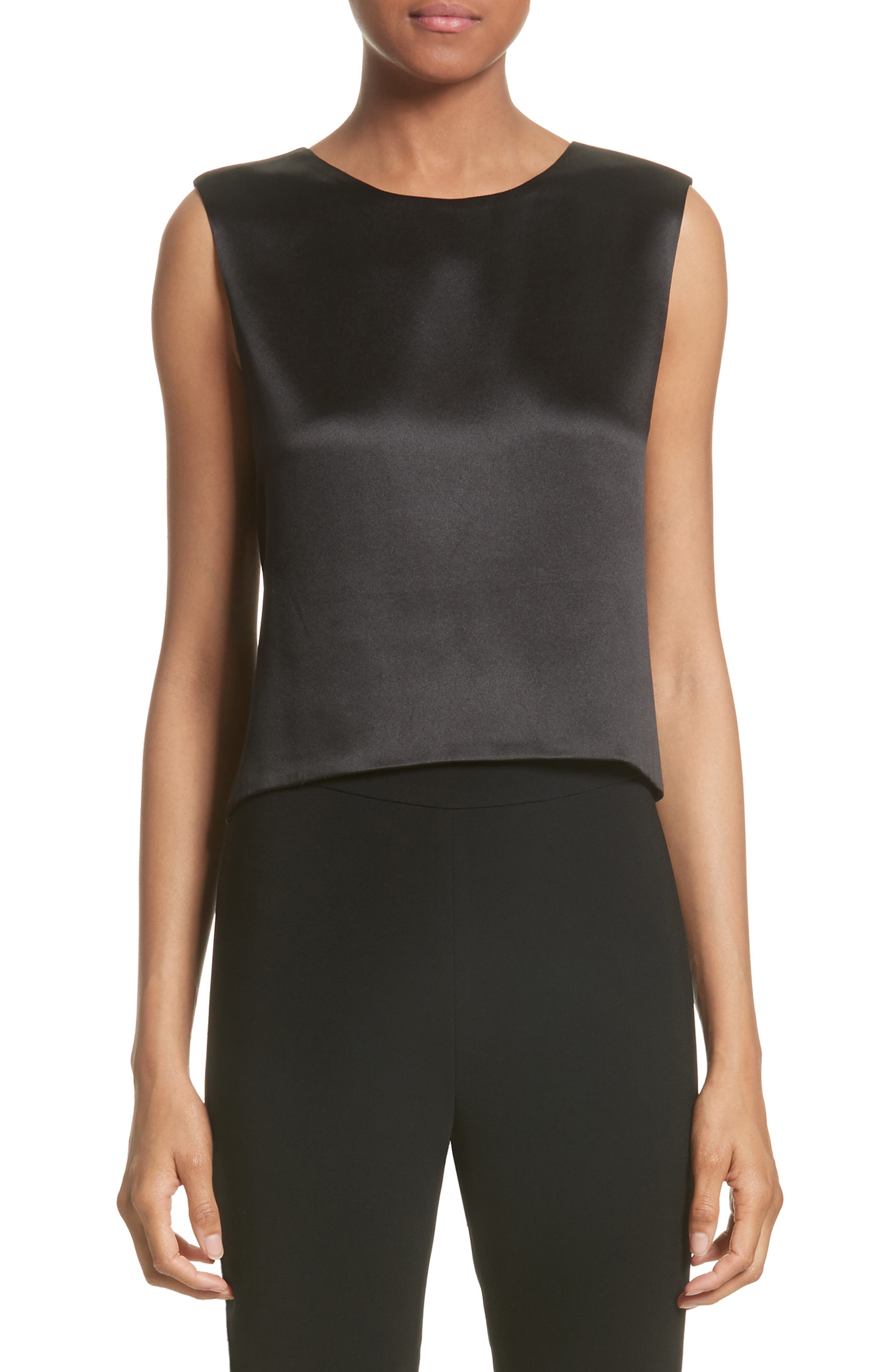 Brandon Maxwell Silk Satin Crop Tank