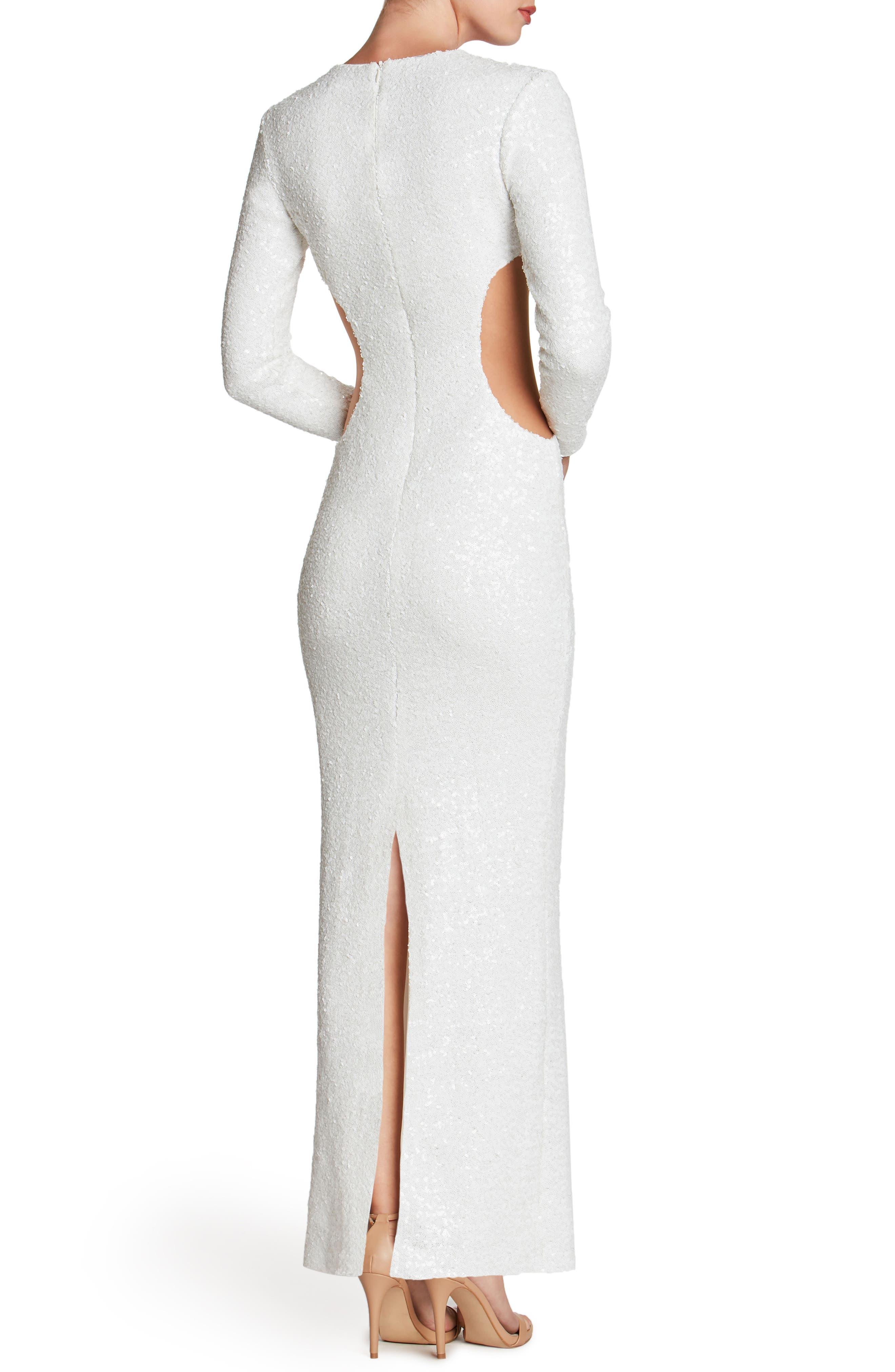 Lara Body-Con Gown,                             Alternate thumbnail 2, color,                             White