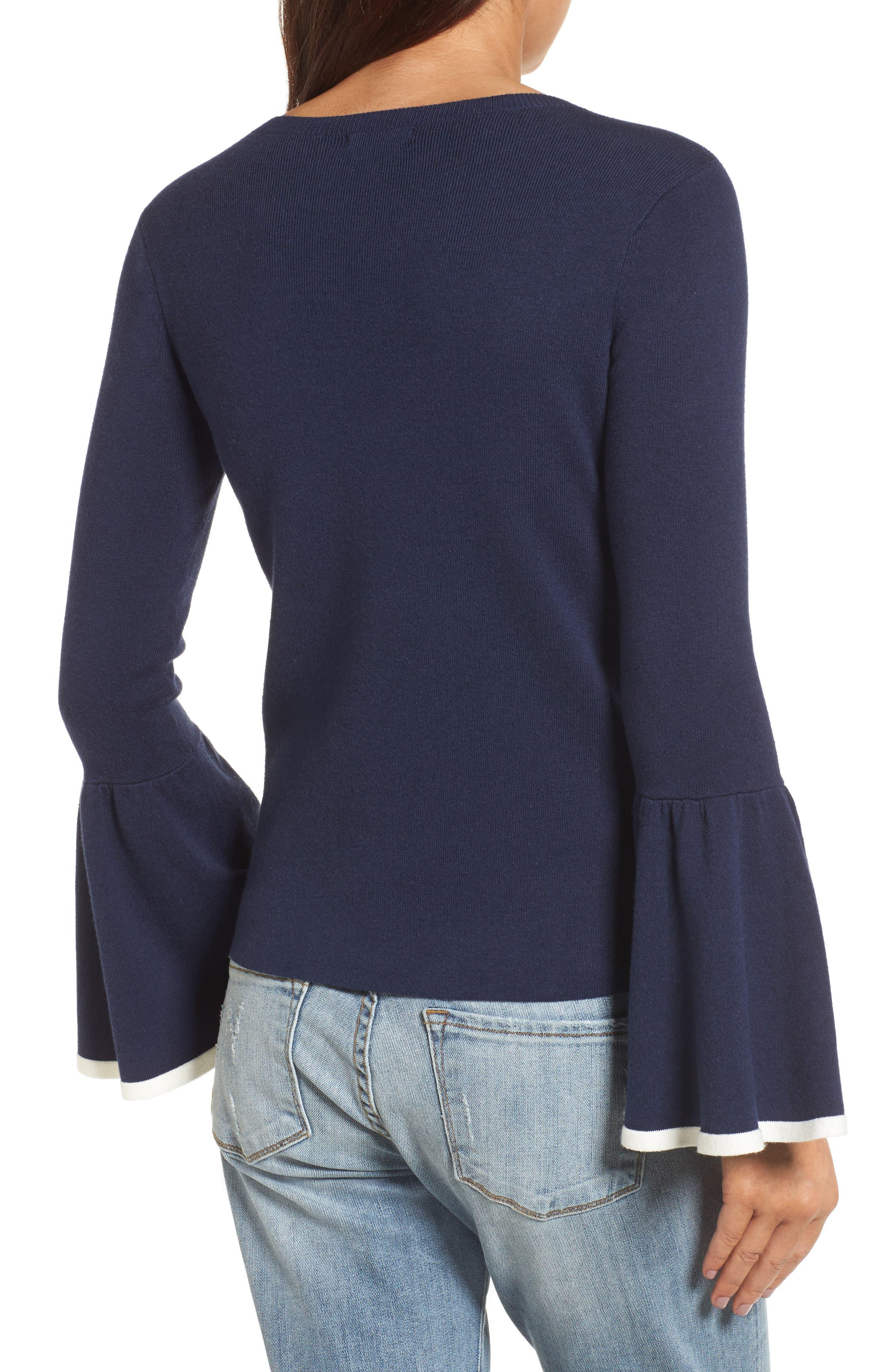 Flare Sleeve Sweater,                             Alternate thumbnail 3, color,                             Navy Peacoat
