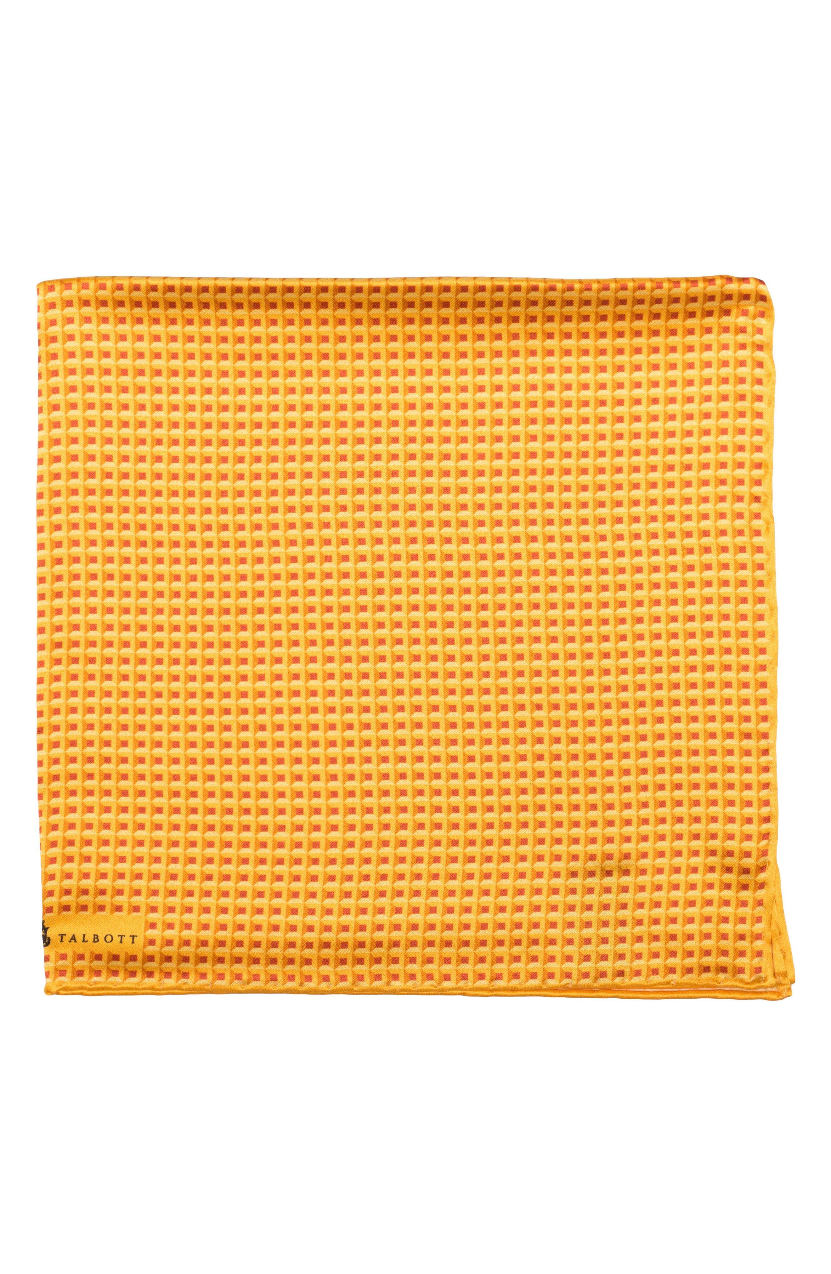 Geometric Silk Pocket Square,                             Main thumbnail 1, color,                             Gold