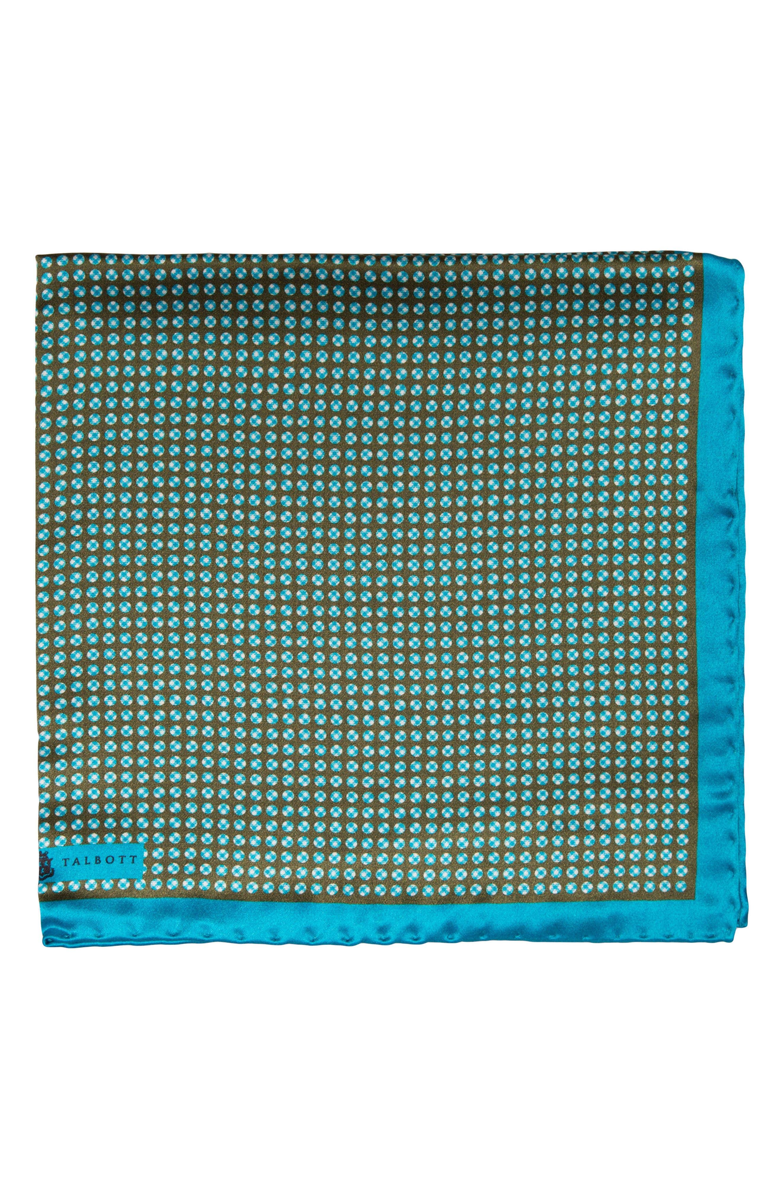 Dot Silk Pocket Square,                             Main thumbnail 1, color,                             Green