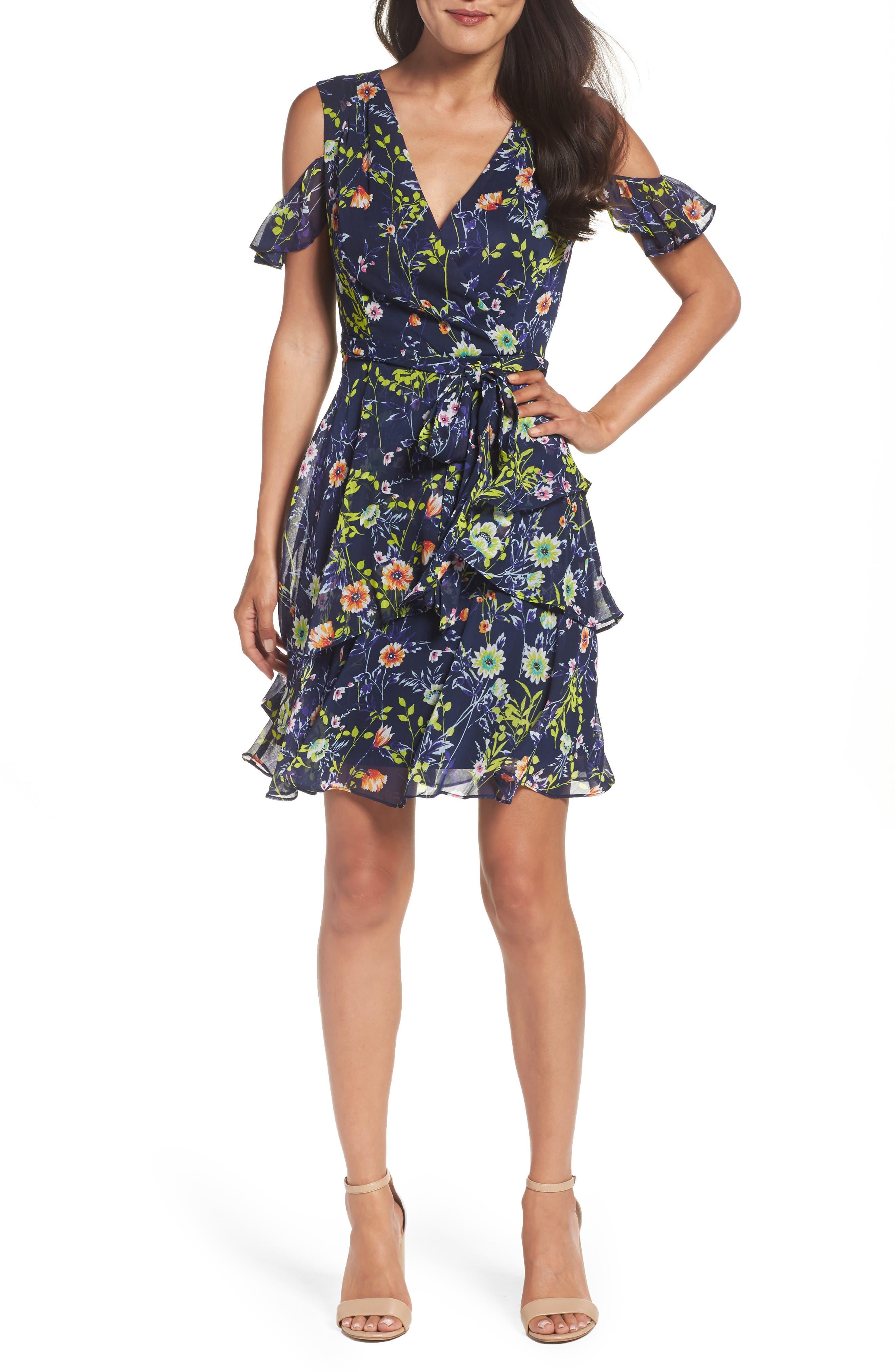 Alternate Image 1 Selected - Tahari Cold Shoulder Chiffon Dress (Regular & Petite)