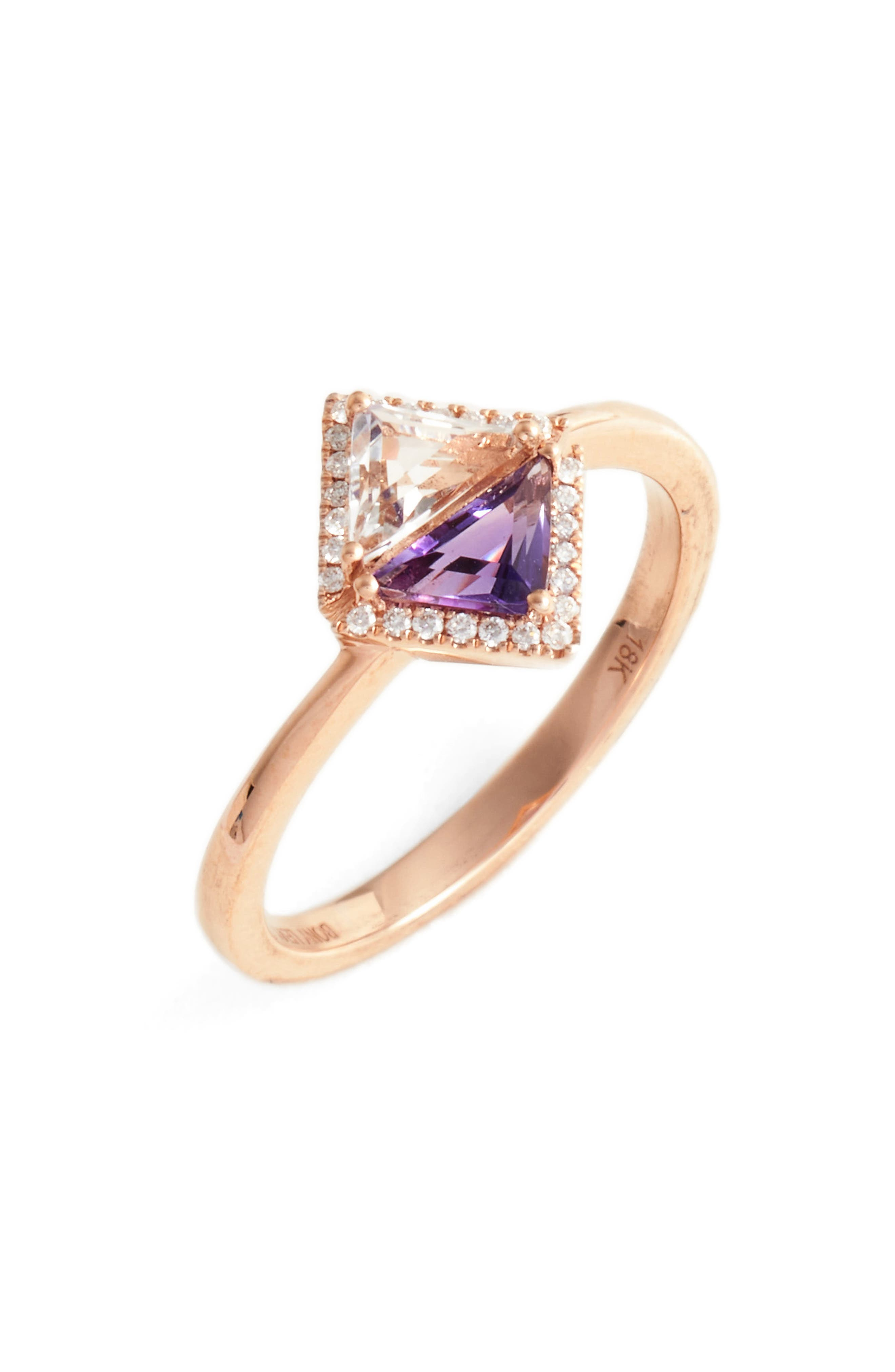 Iris Double Triangle Diamond & Semiprecious Stone Ring,                             Main thumbnail 1, color,                             White Topaz/ Amethyst