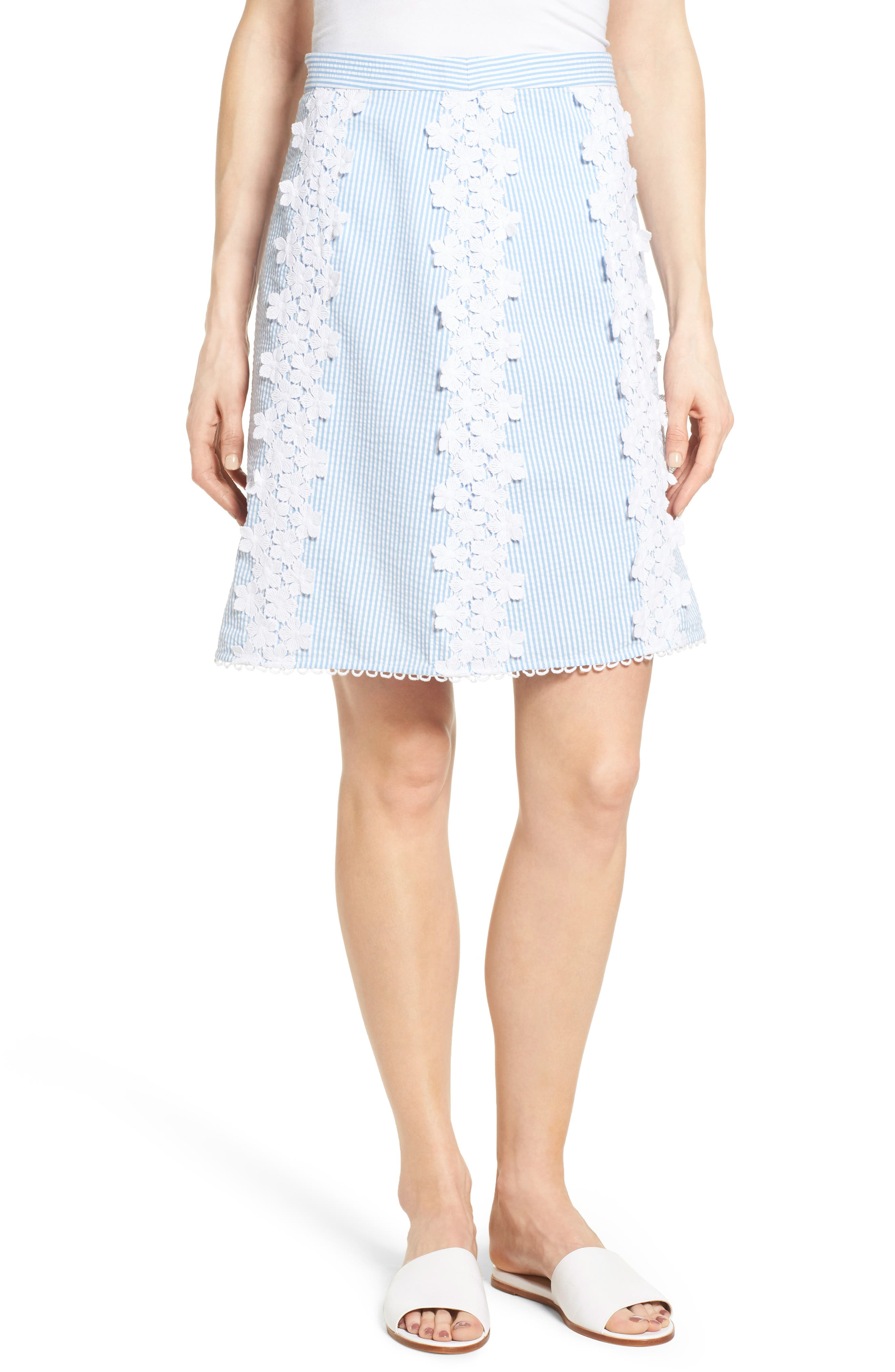 DRAPER JAMES Lace Trim Seersucker Skirt