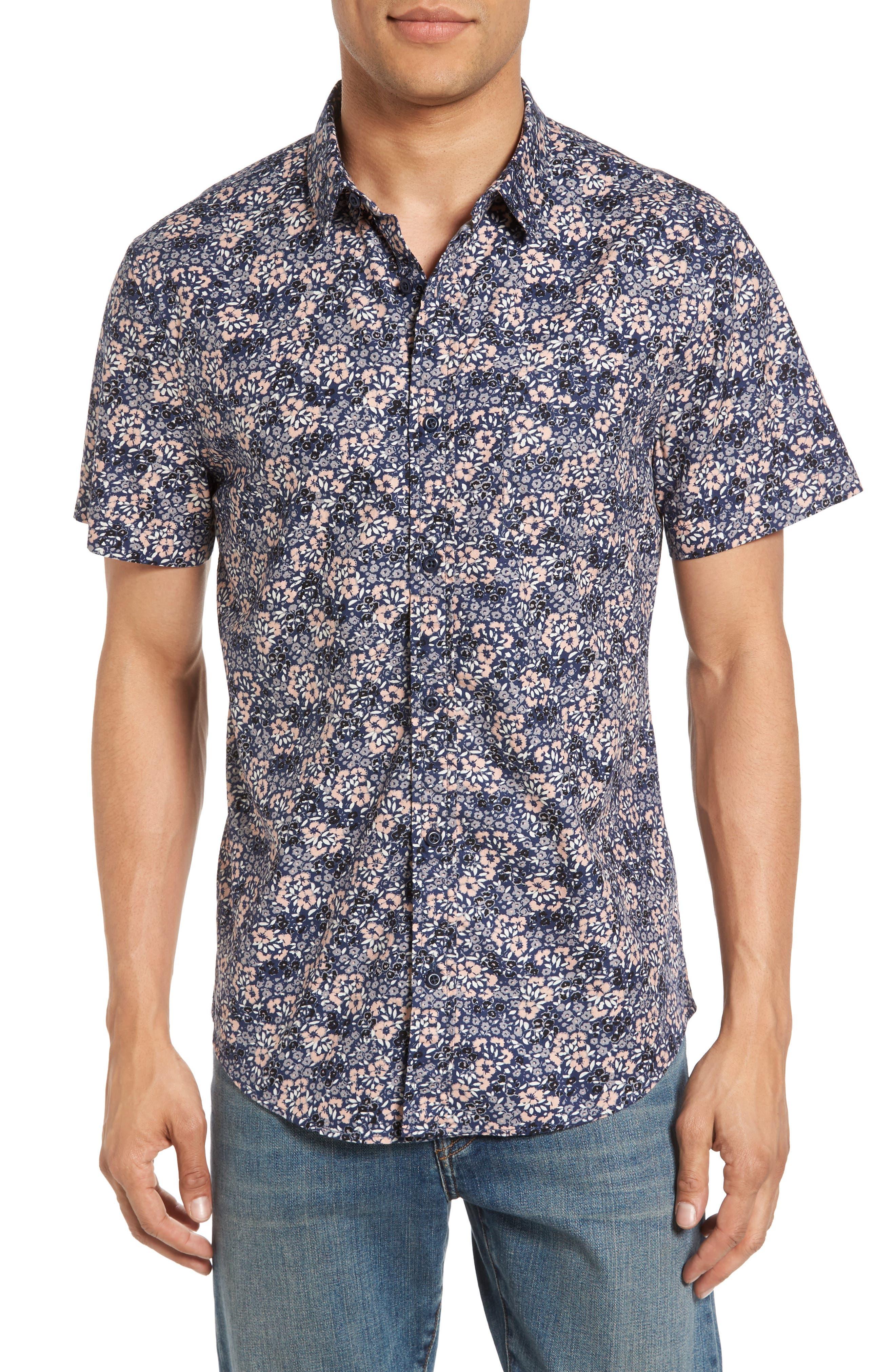 Poplin Floral Shirt,                         Main,                         color, Navy Peacoat Simple Floral