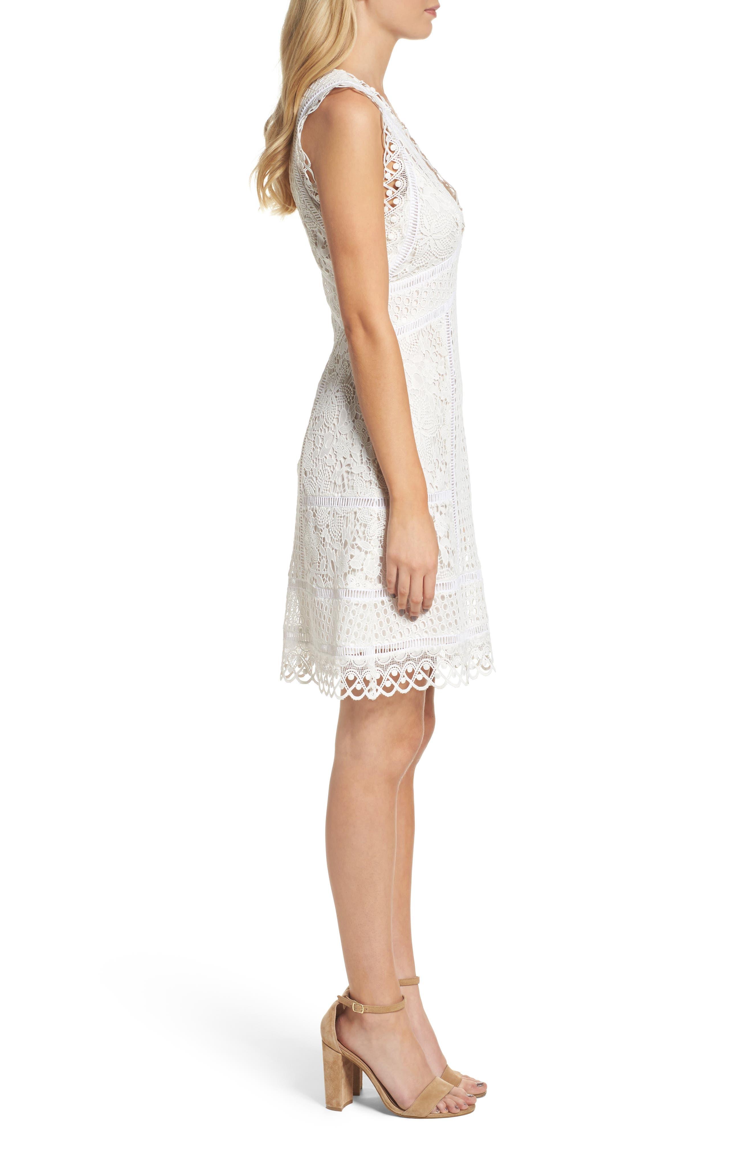 Zahra Fit & Flare Dress,                             Alternate thumbnail 3, color,                             Summer White