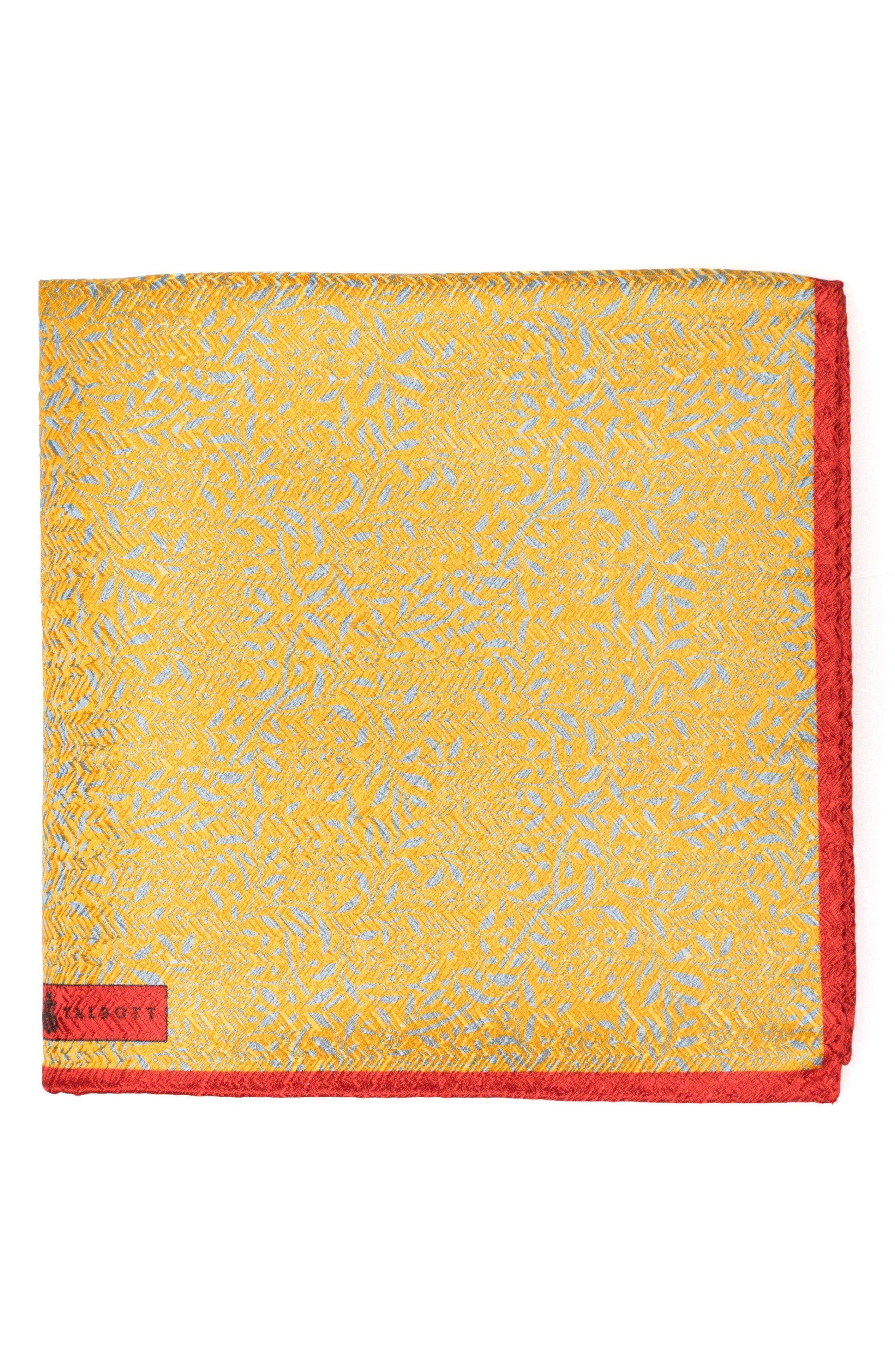 Floral Silk Pocket Square,                         Main,                         color, Gold
