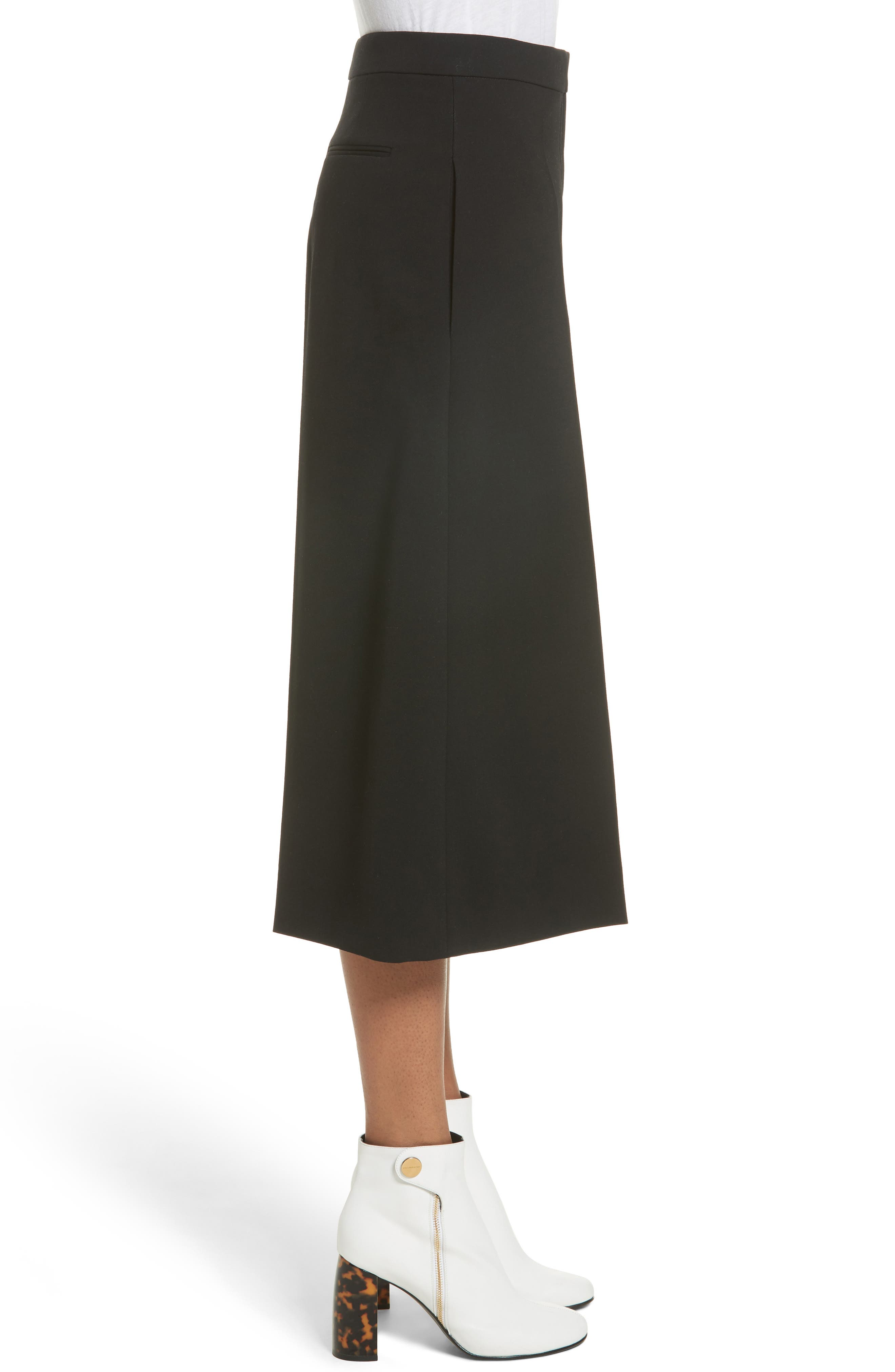 Stretch Wool Culottes,                             Alternate thumbnail 5, color,                             Black