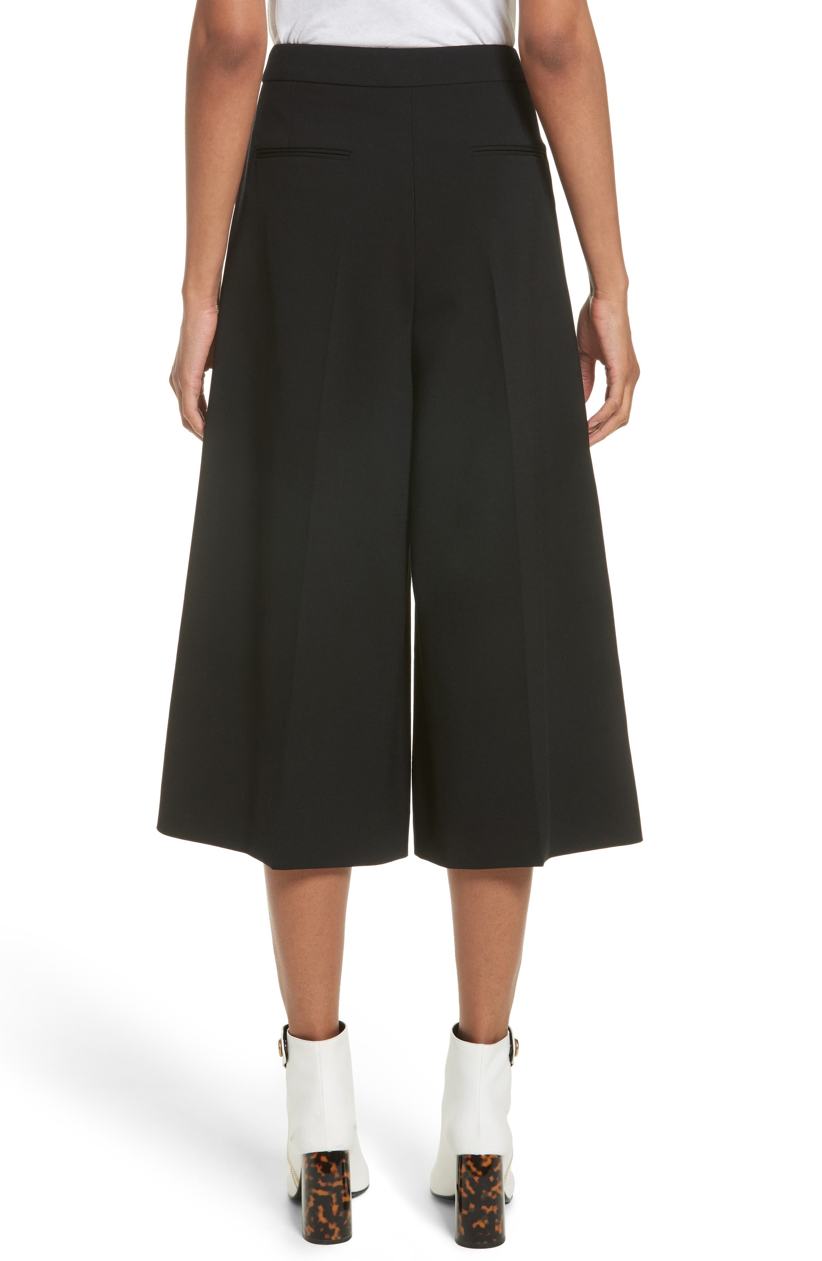 Stretch Wool Culottes,                             Alternate thumbnail 2, color,                             Black