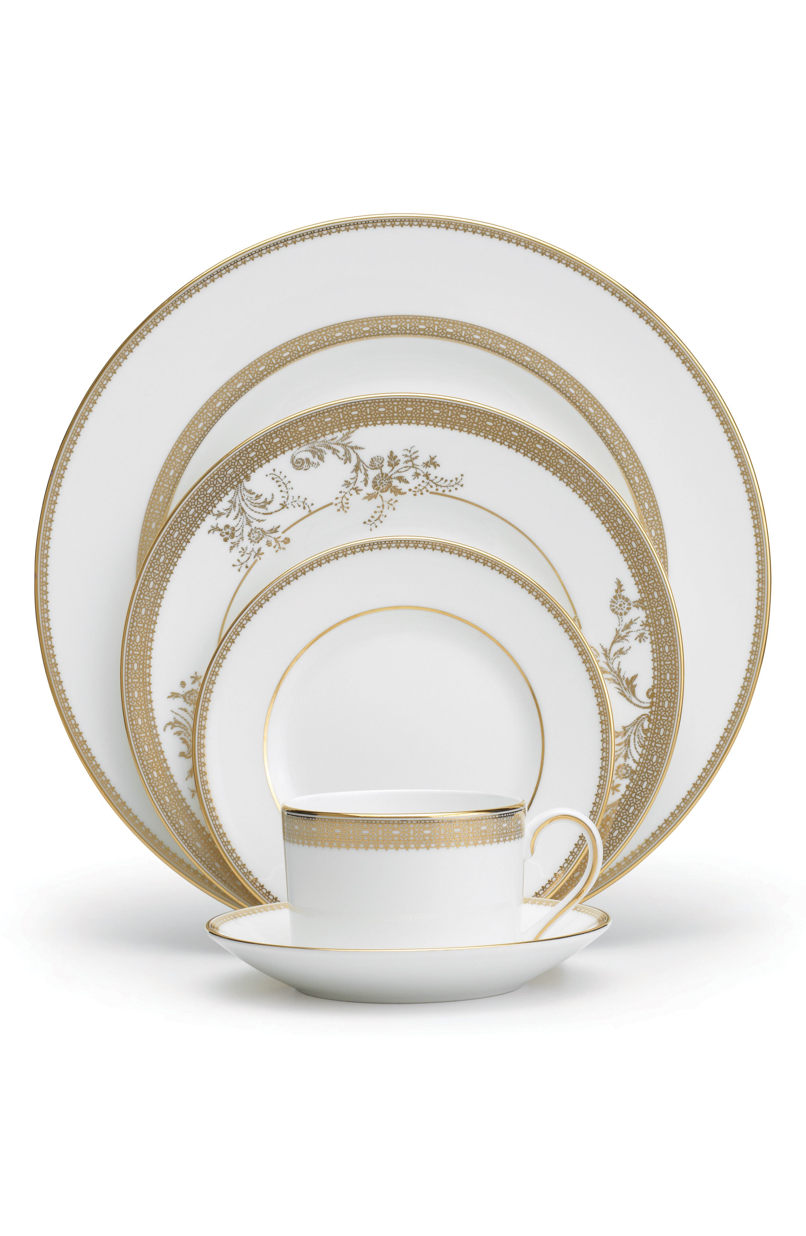 5-Piece Bone China Dinnerware Place Setting,                             Main thumbnail 1, color,                             White