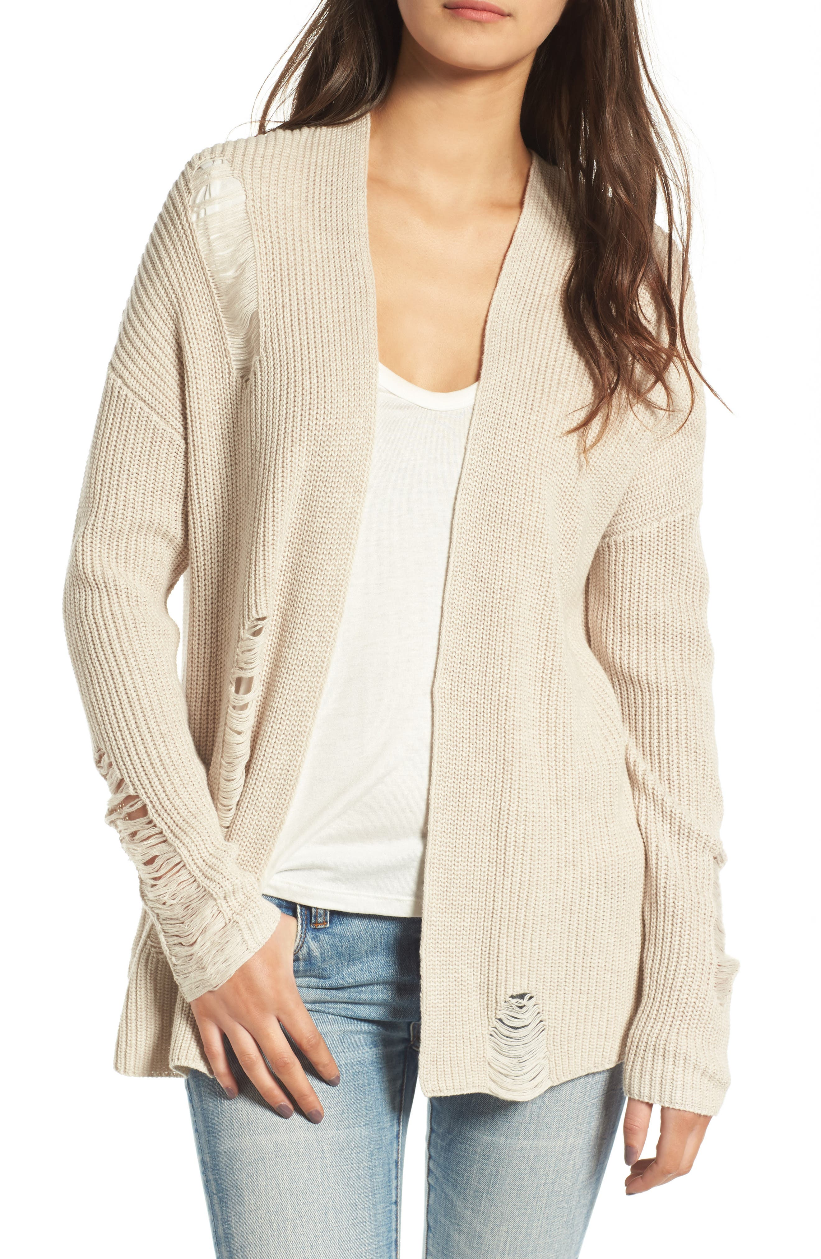 Distressed Cotton Cardigan,                         Main,                         color, Tan Oxford