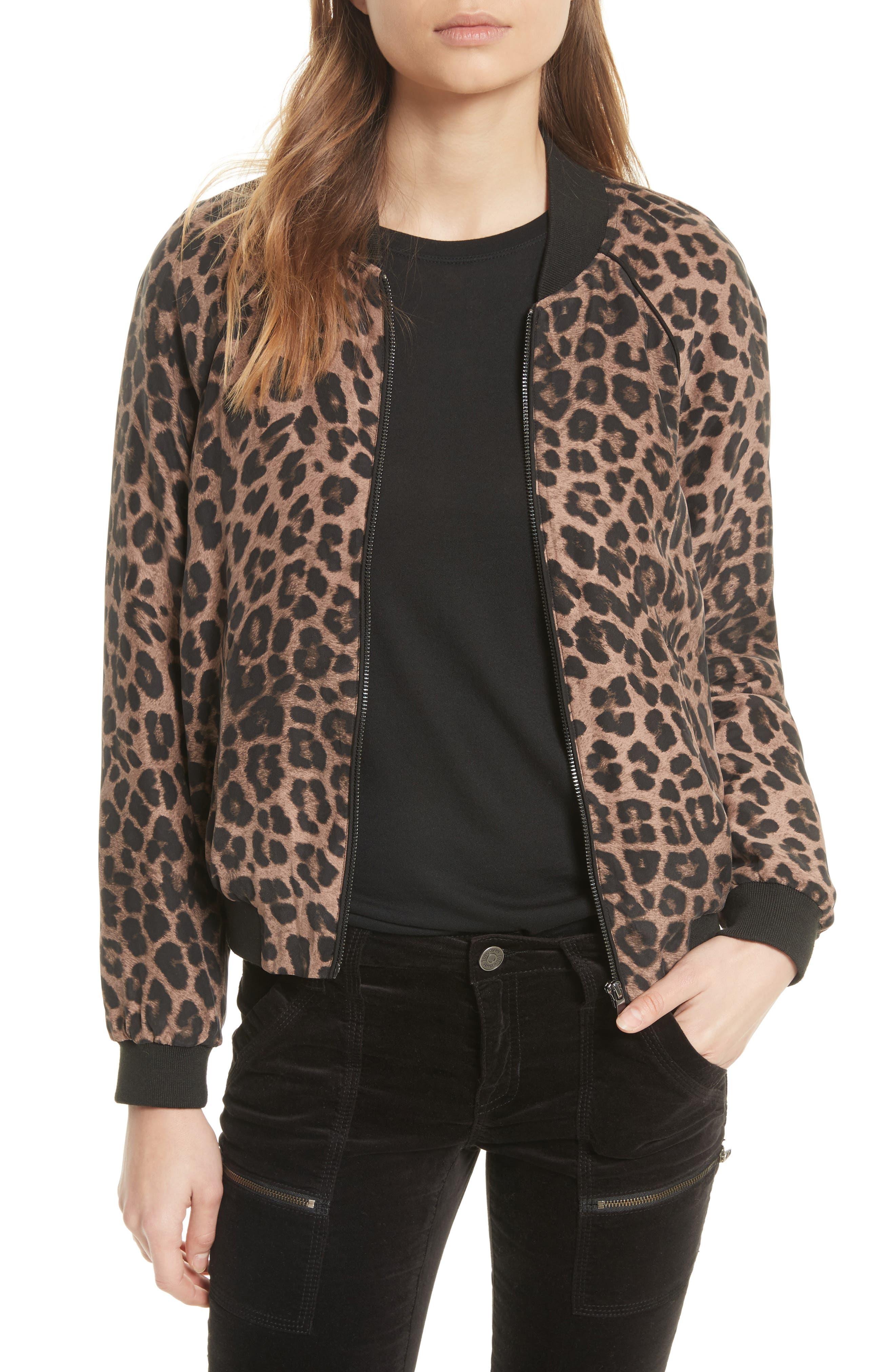 Julita Leopard Print Silk Jacket,                         Main,                         color, Old Oak