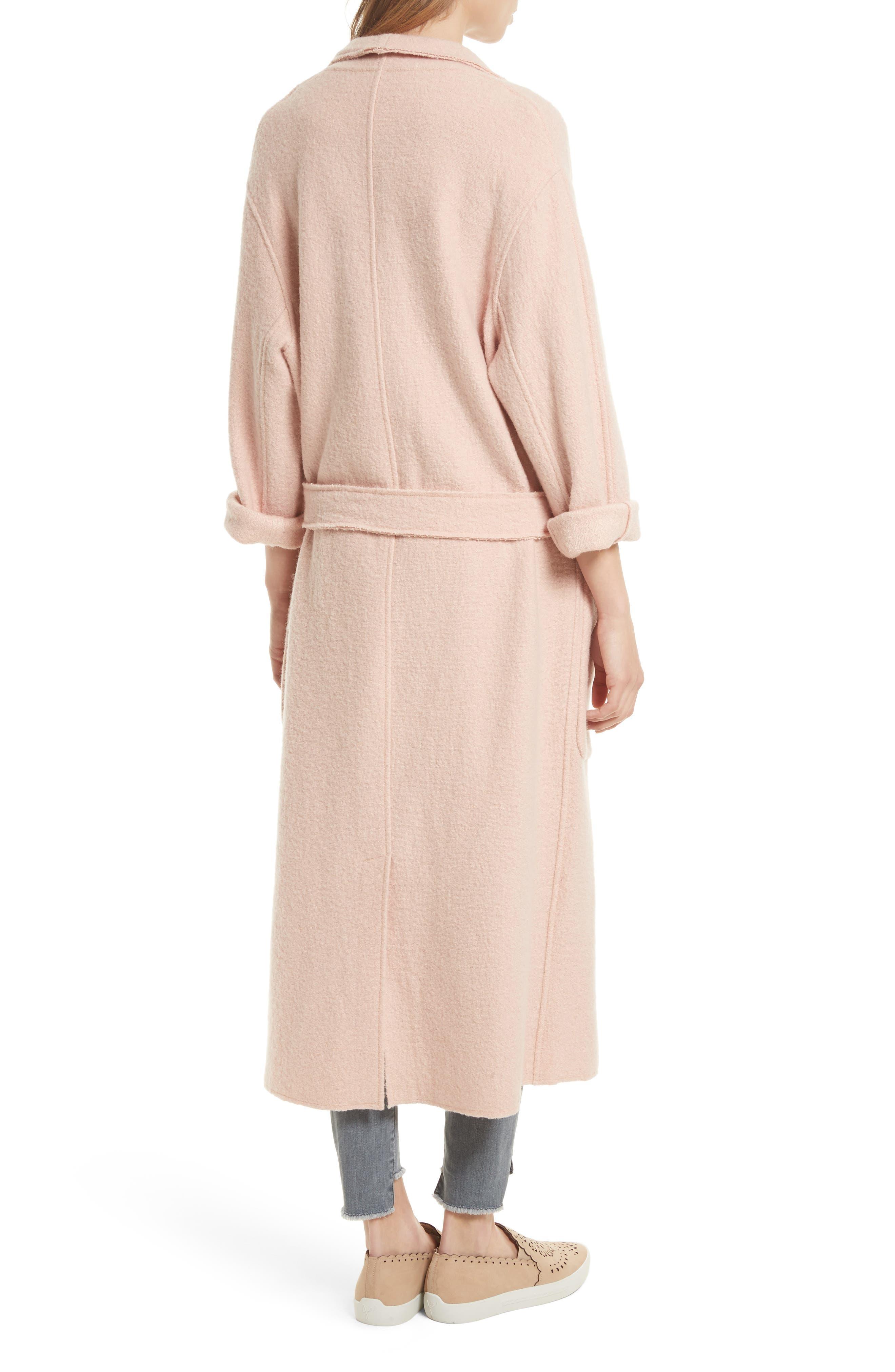 Rodina Long Wool Blend Coat,                             Alternate thumbnail 2, color,                             Dusty Primrose