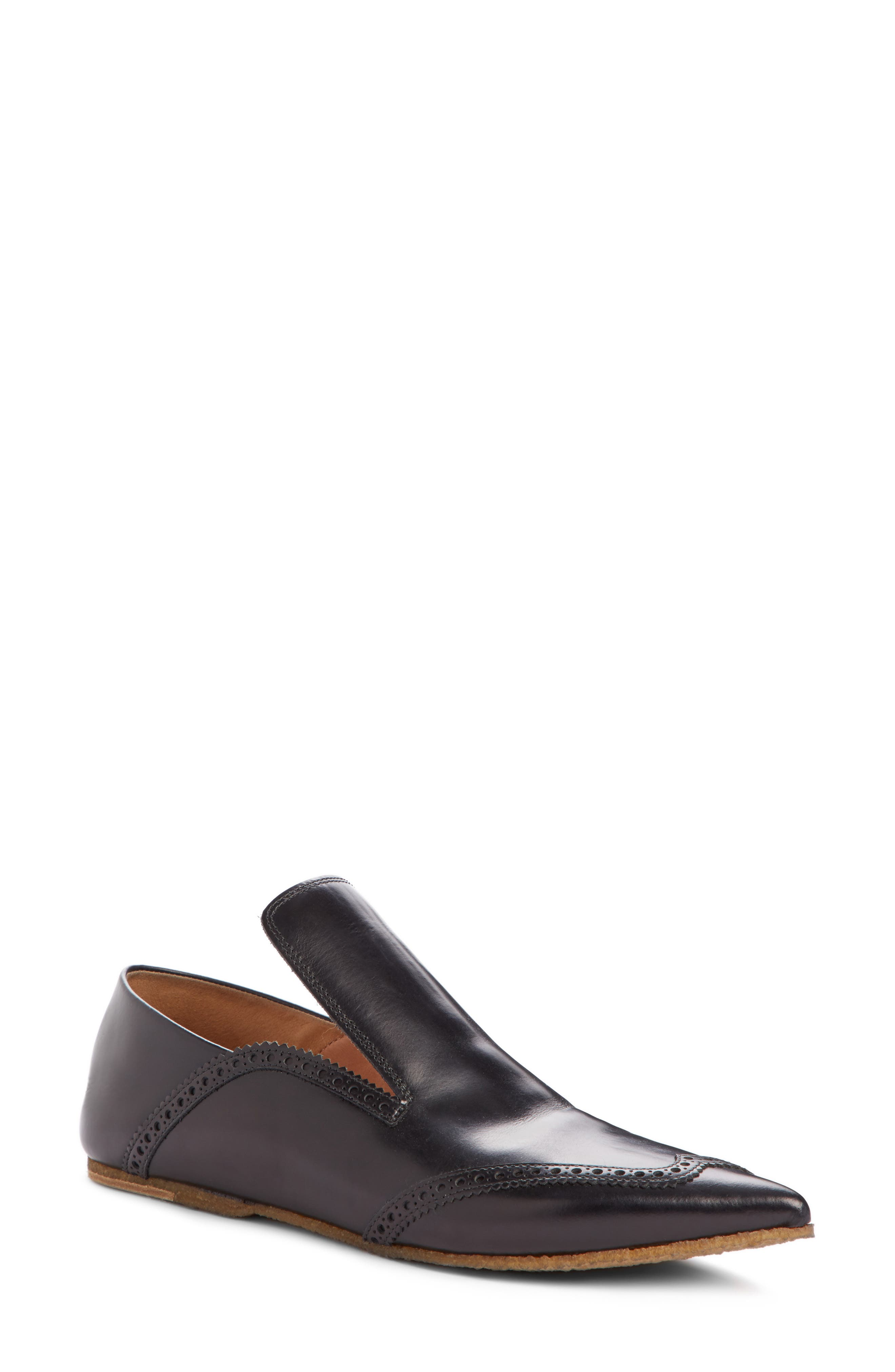 Pointy Toe Loafer,                             Main thumbnail 1, color,                             Black