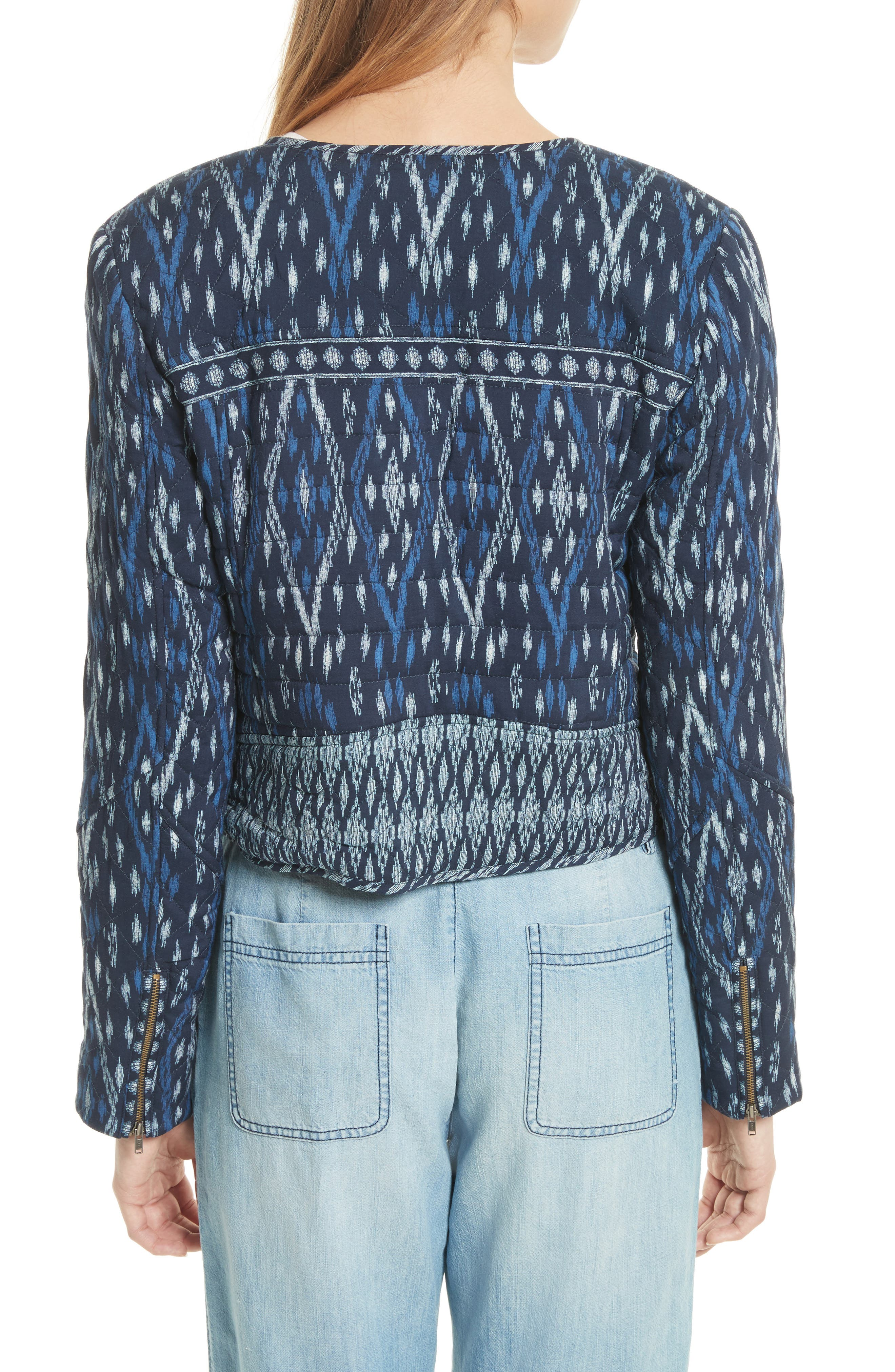 Akinyi Quilted Crop Jacket,                             Alternate thumbnail 2, color,                             Dark Navy