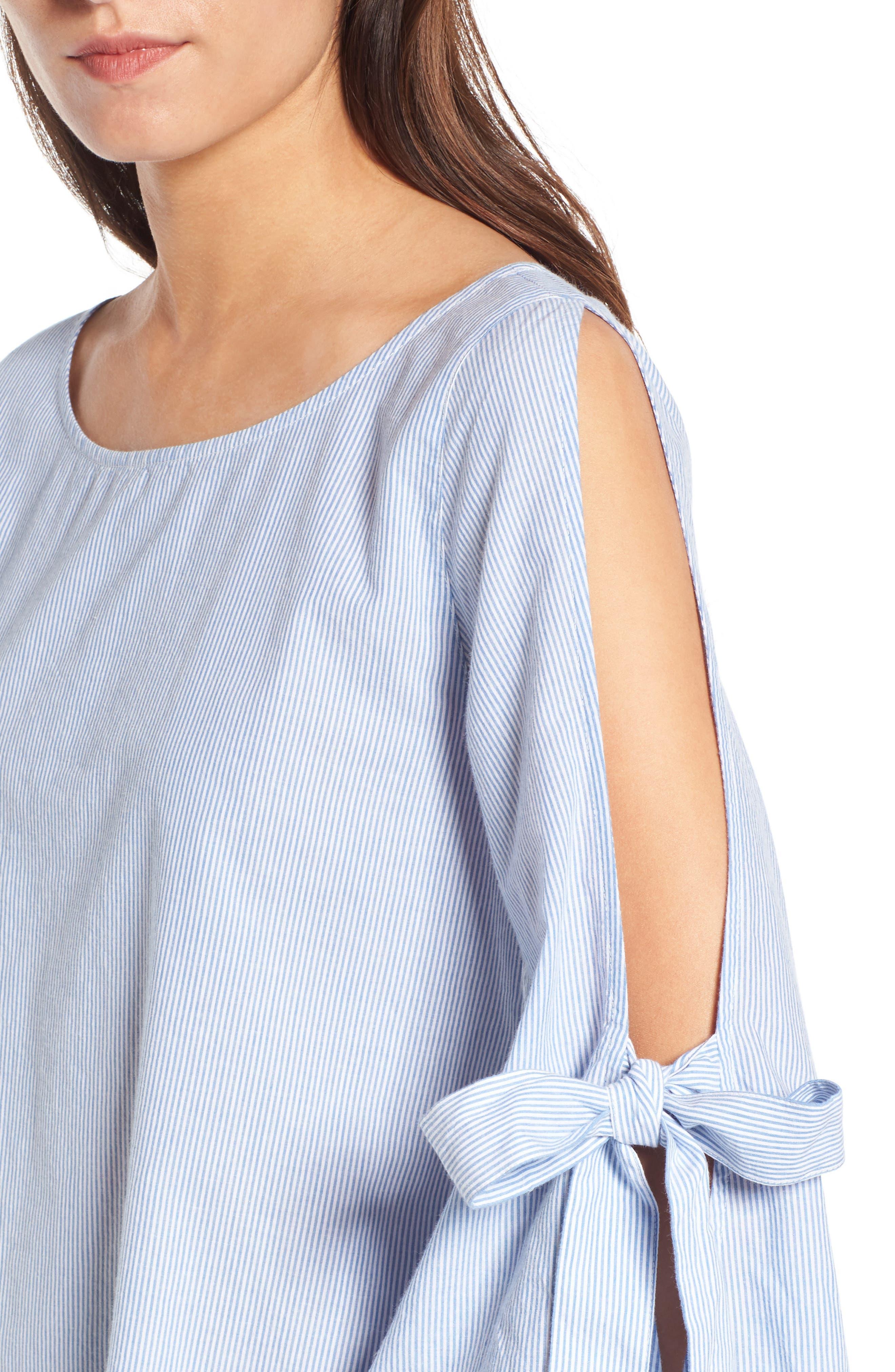 Tie Sleeve Blouse,                             Alternate thumbnail 4, color,                             Blue Tw Jny Stp