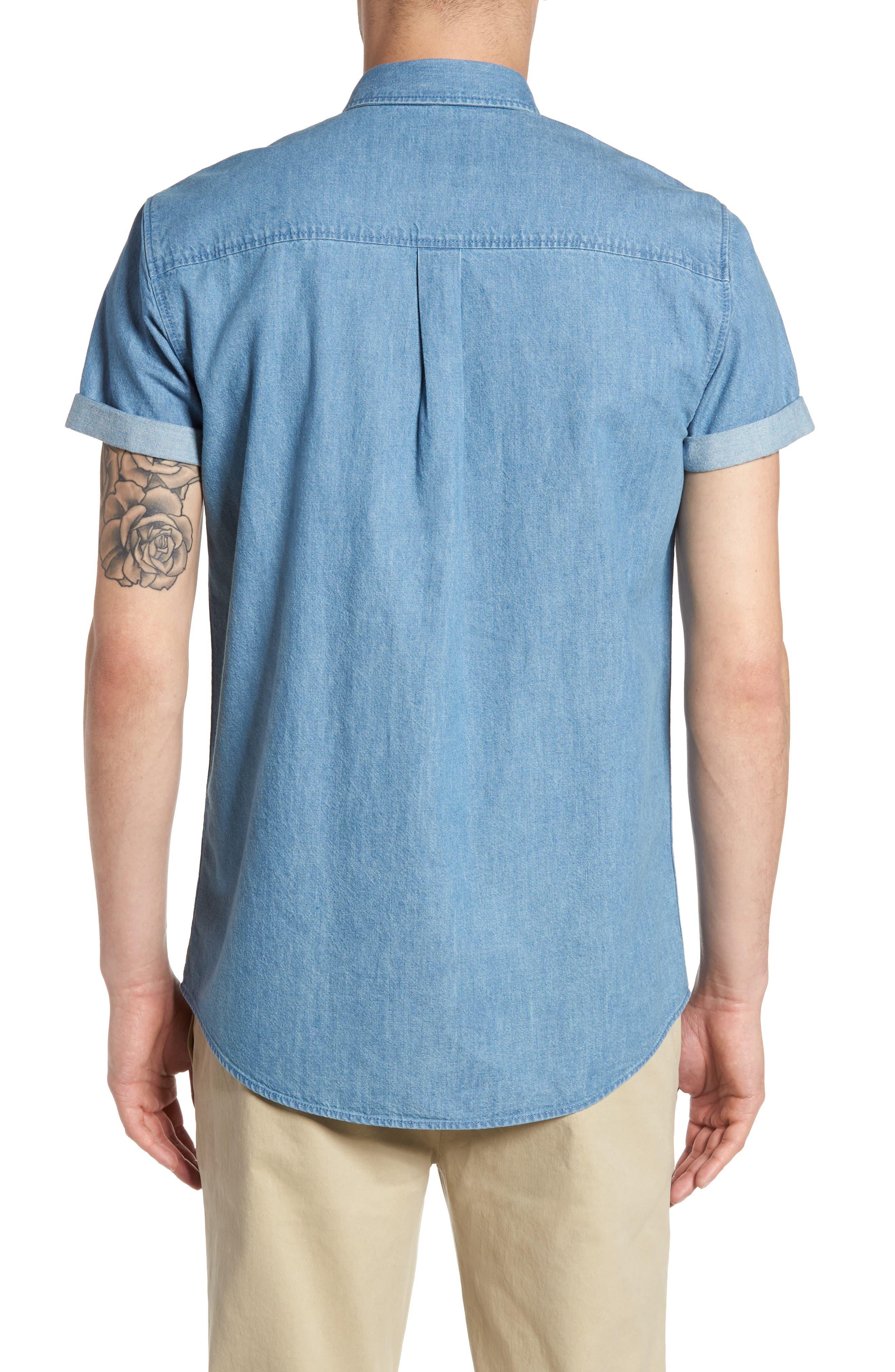 Washed Denim Shirt,                             Alternate thumbnail 2, color,                             Blue