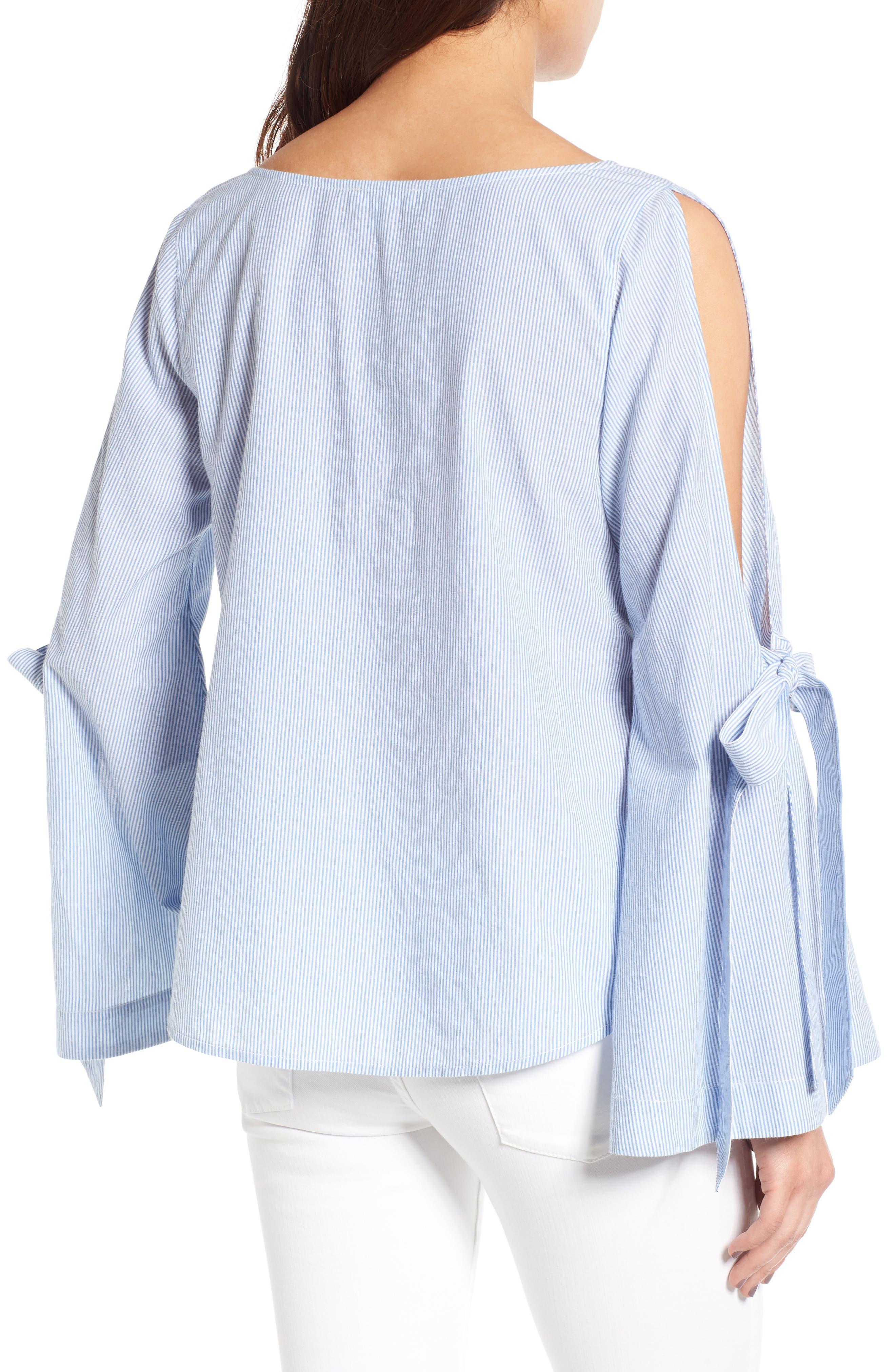 Tie Sleeve Blouse,                             Alternate thumbnail 2, color,                             Blue Tw Jny Stp