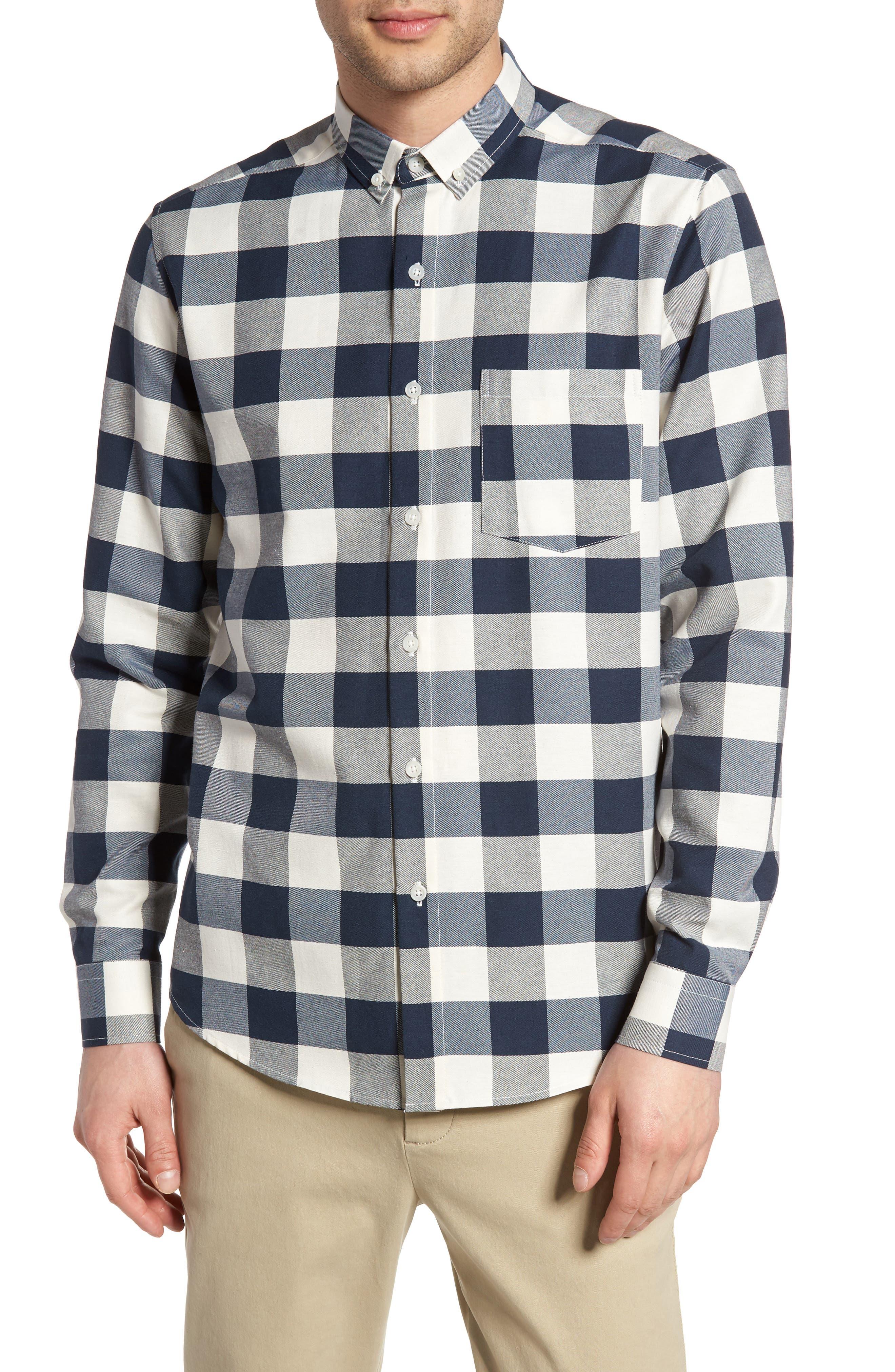 Check Twill Shirt,                         Main,                         color, Stone Multi