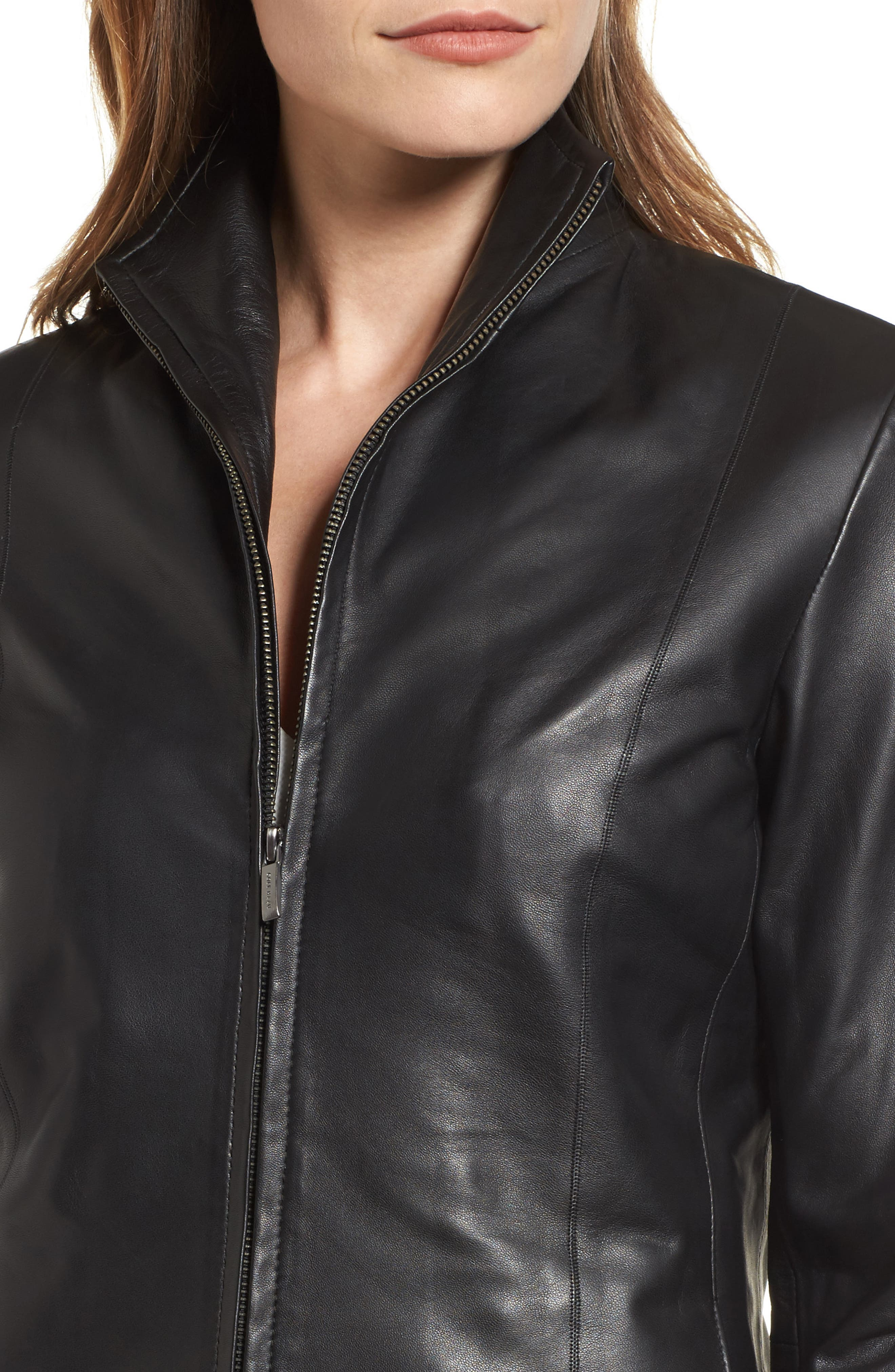 Lambskin Leather Scuba Jacket,                             Alternate thumbnail 4, color,                             Black