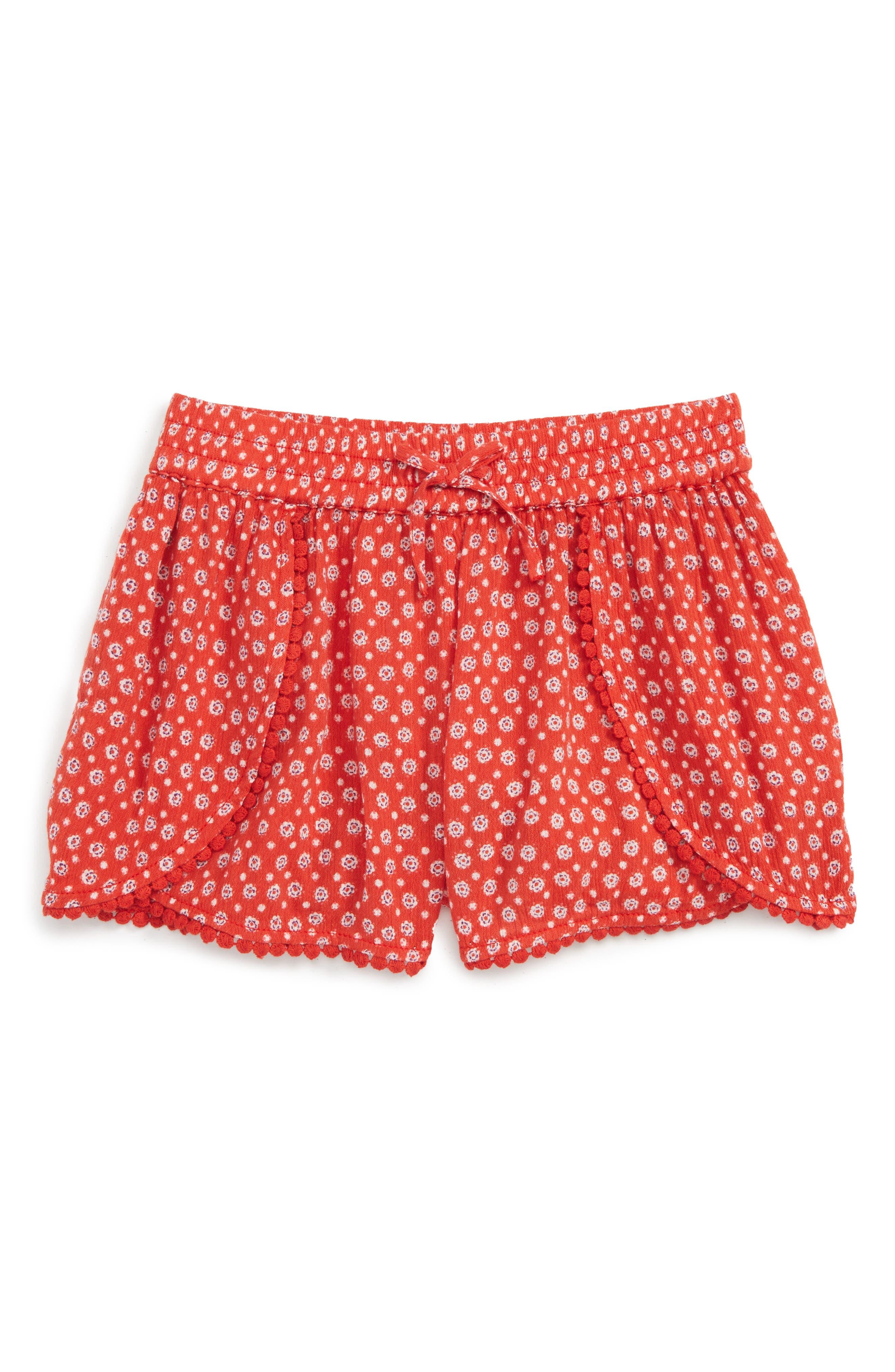 Print Shorts,                             Main thumbnail 1, color,                             Red Lava Spotty Floral