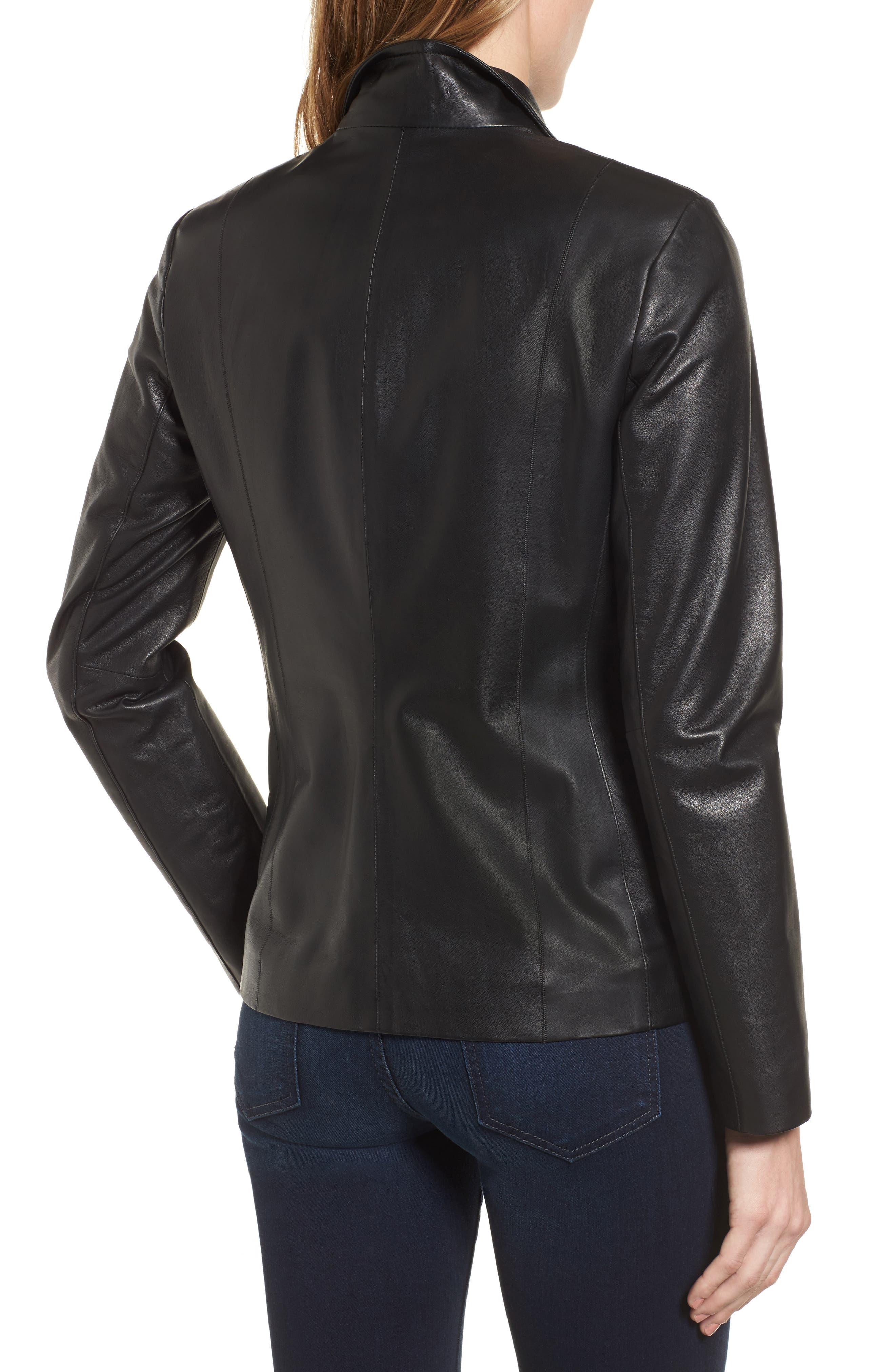 Lambskin Leather Scuba Jacket,                             Alternate thumbnail 2, color,                             Black