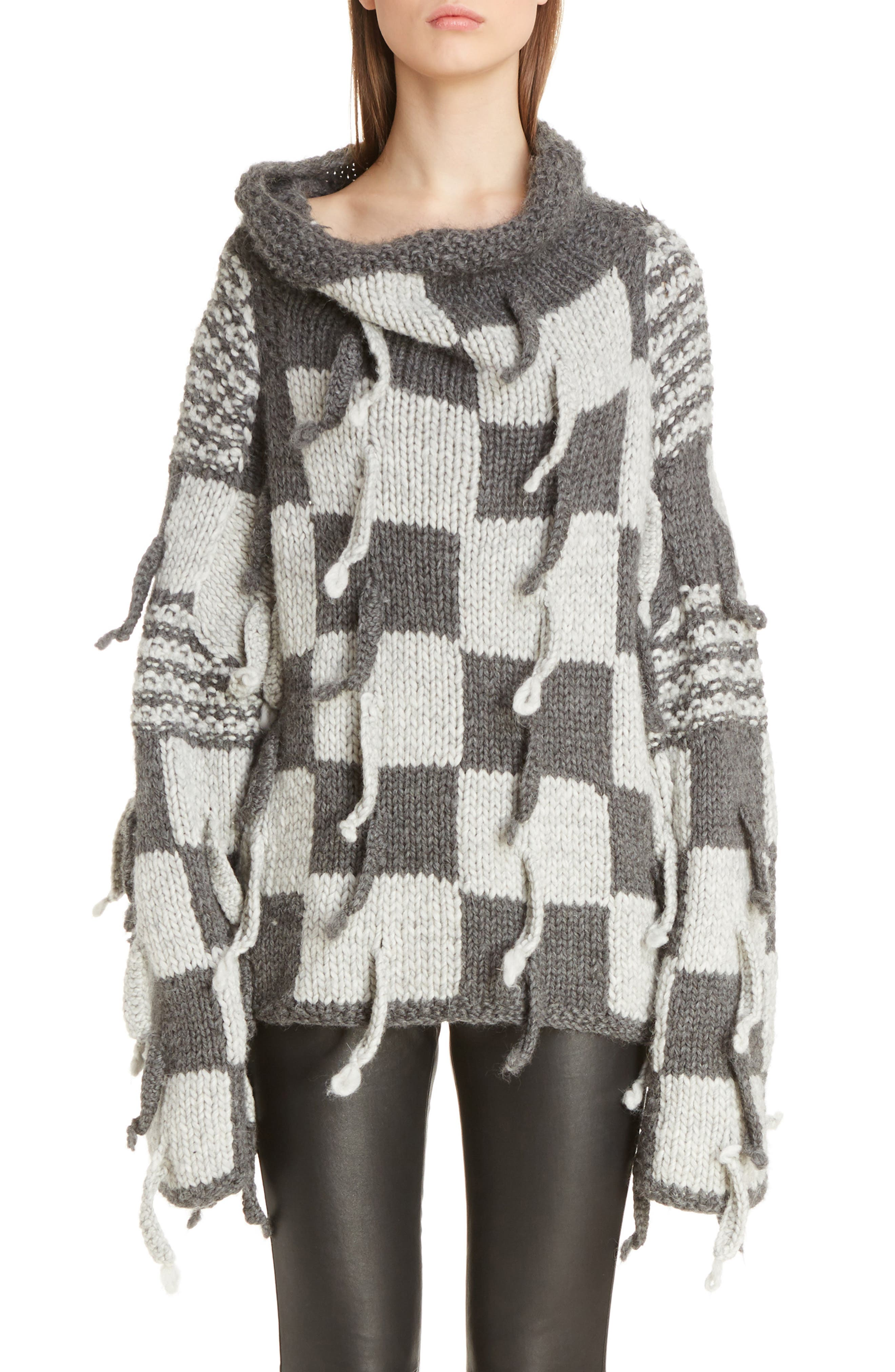 Chunky Knit Wool & Alpaca Sweater,                         Main,                         color, Dark Grey/ Light Grey