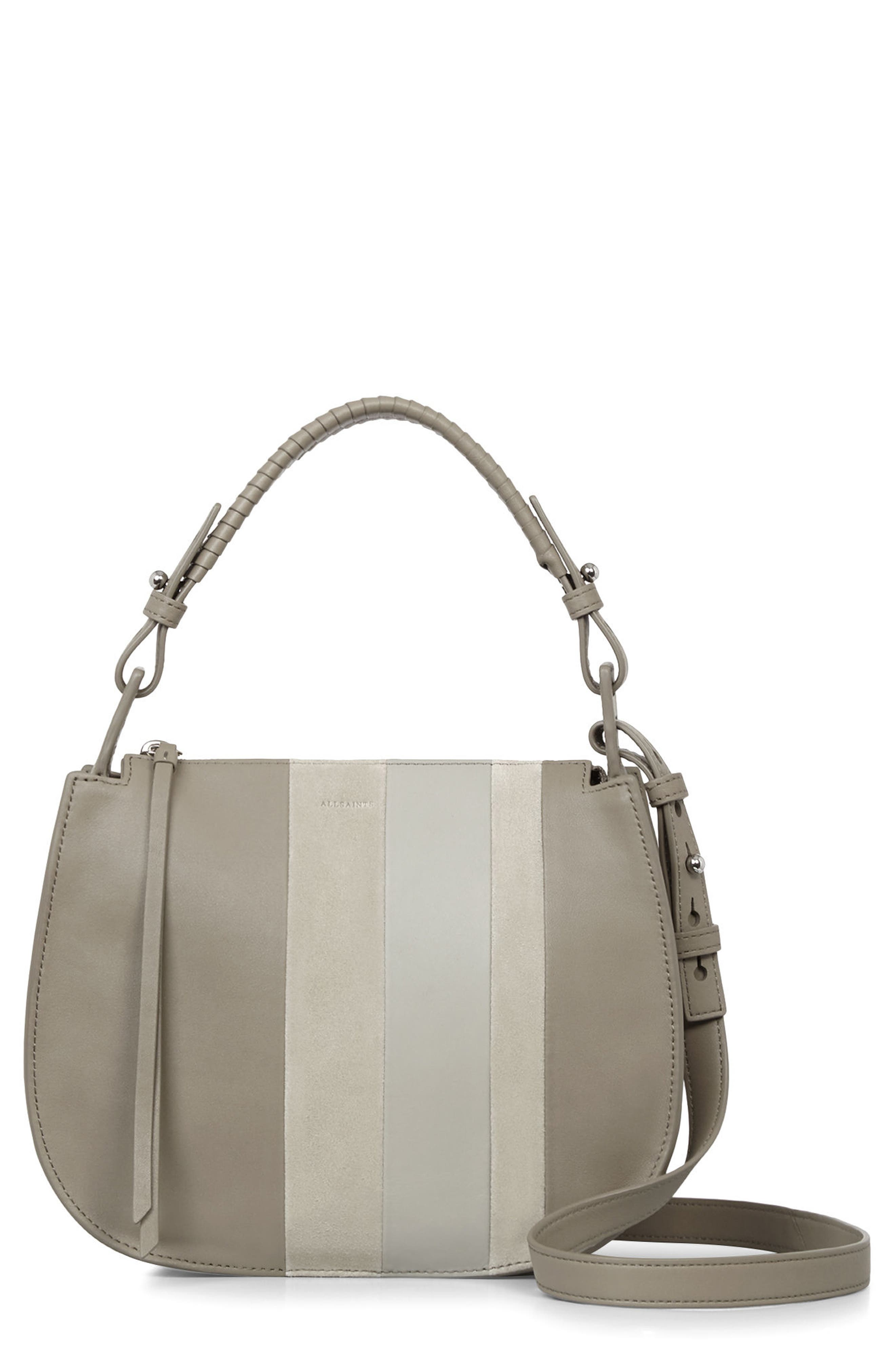 Casey Lea Calfskin Leather & Suede Hobo,                             Main thumbnail 1, color,                             Taupe Grey