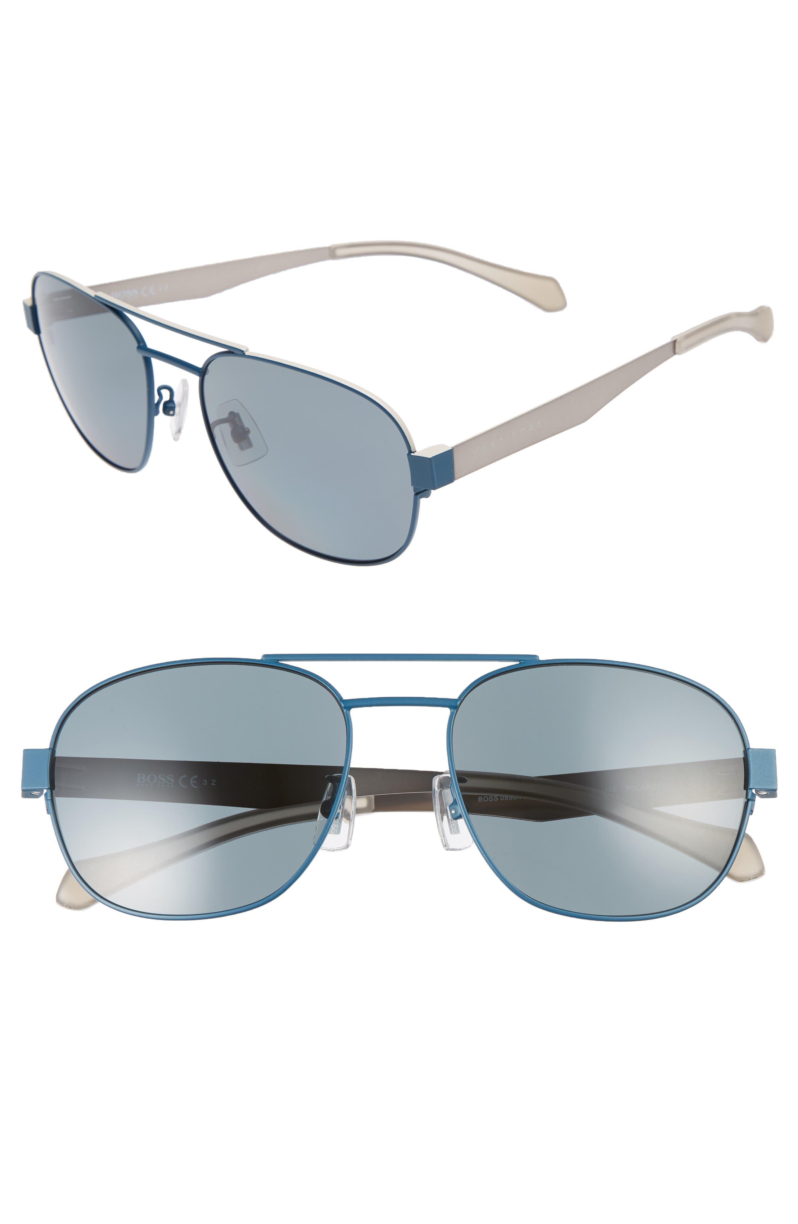 Main Image - BOSS 58mm Polarized Navigator Sunglasses