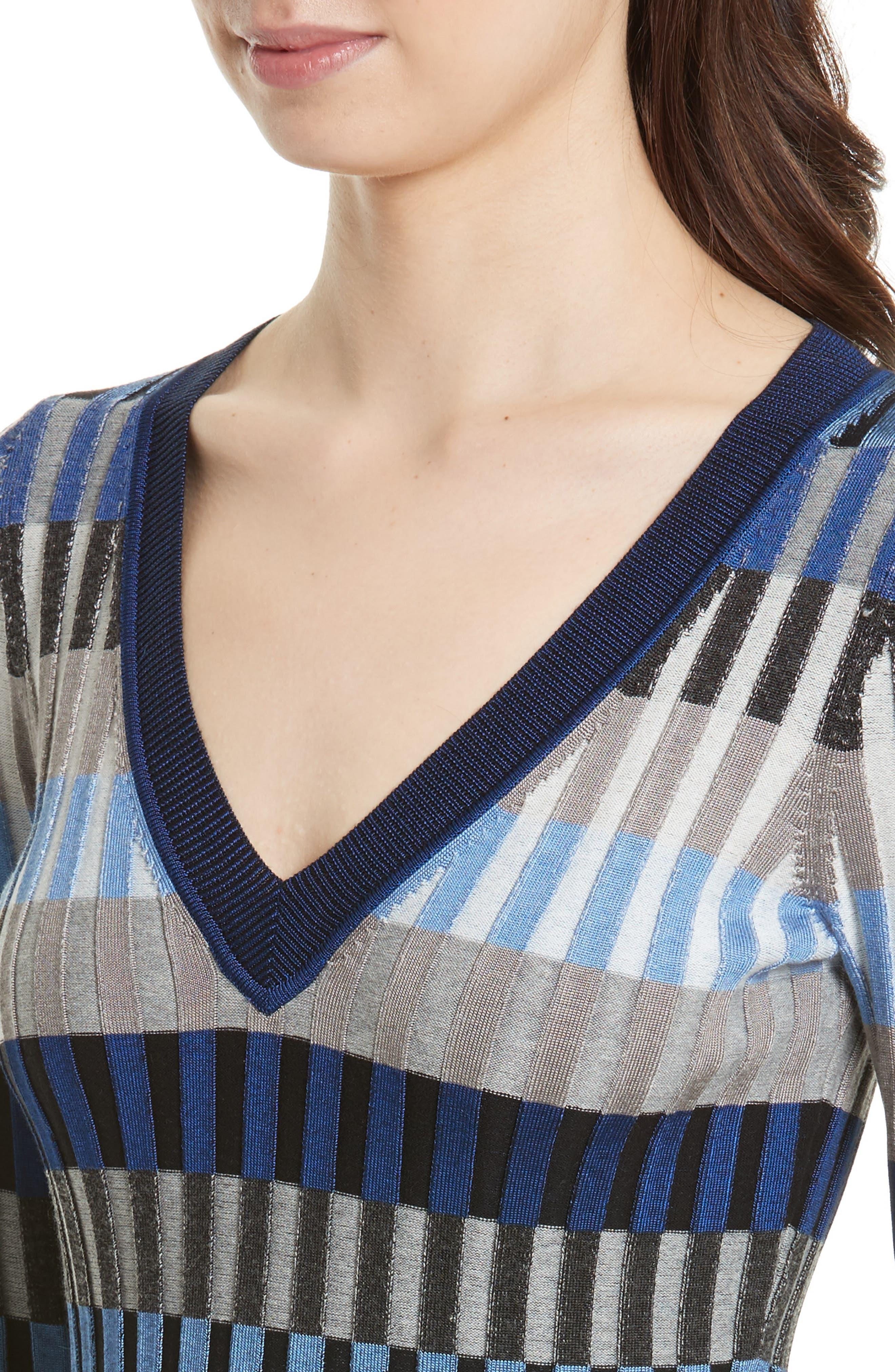 Stripe Rib Knit Sweater,                             Alternate thumbnail 4, color,                             Ash Combo