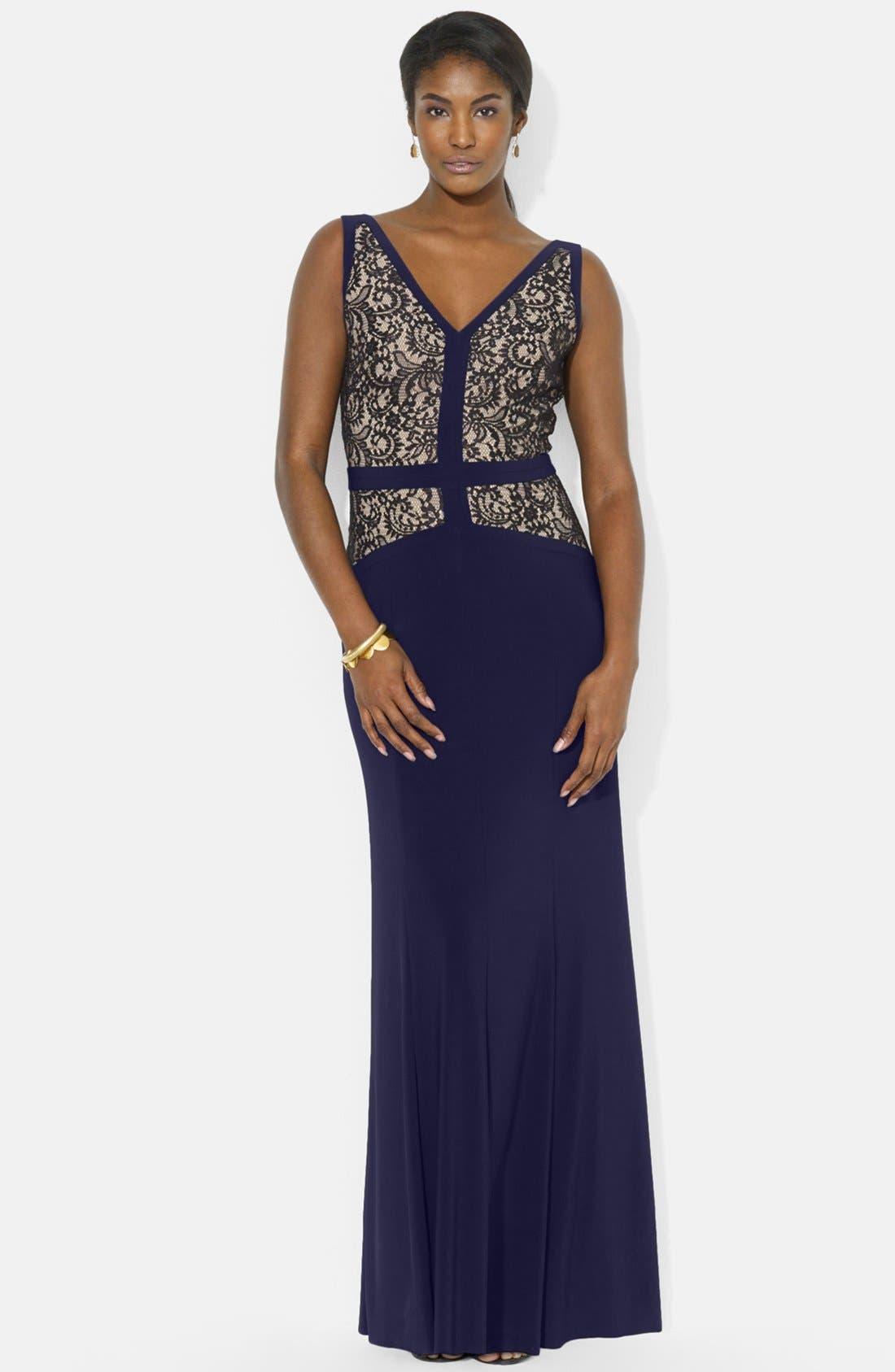 Main Image - Lauren Ralph Lauren Lace & Jersey V-Neck Gown (Regular & Petite)