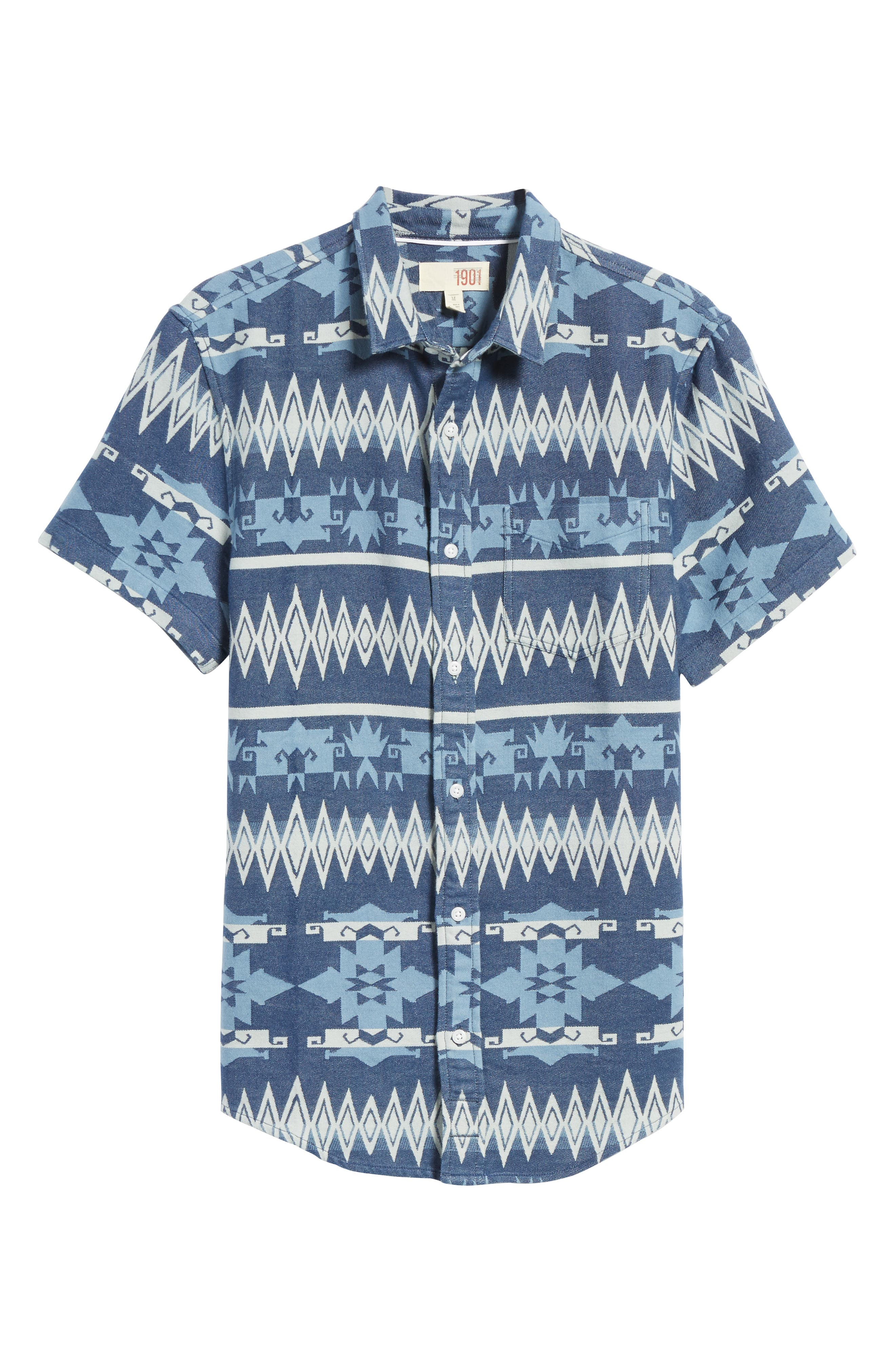 Geo Jacquard Shirt,                             Alternate thumbnail 6, color,                             Blue Dusk Oversize Geo