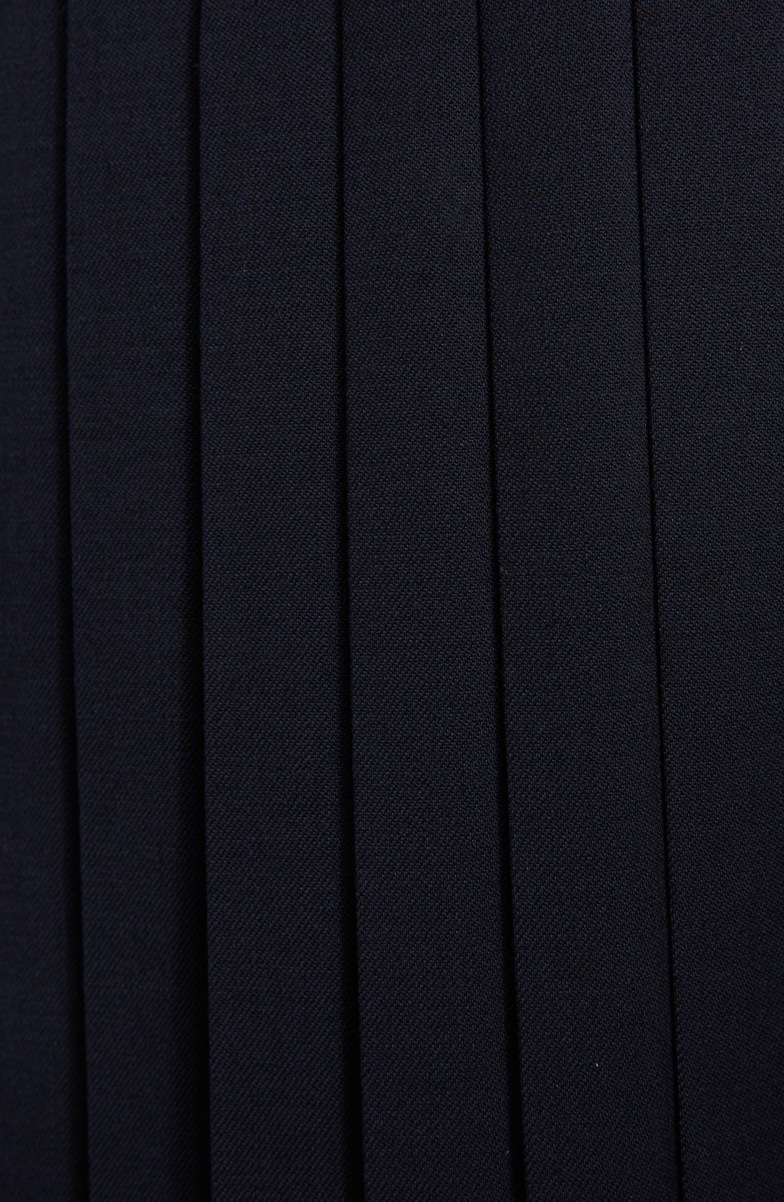 Pleated Wool Blend Skirt,                             Alternate thumbnail 3, color,                             Navy