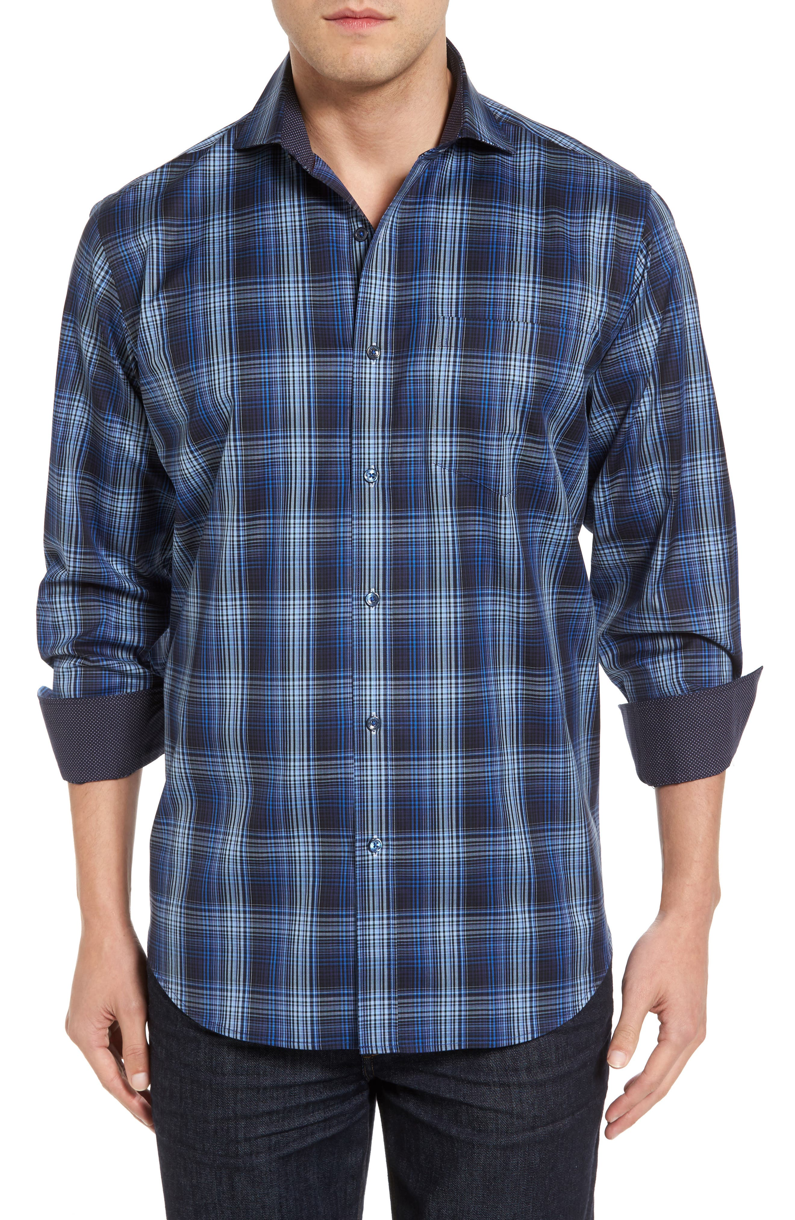 Classic Fit Plaid Sport Shirt,                         Main,                         color, Midnight