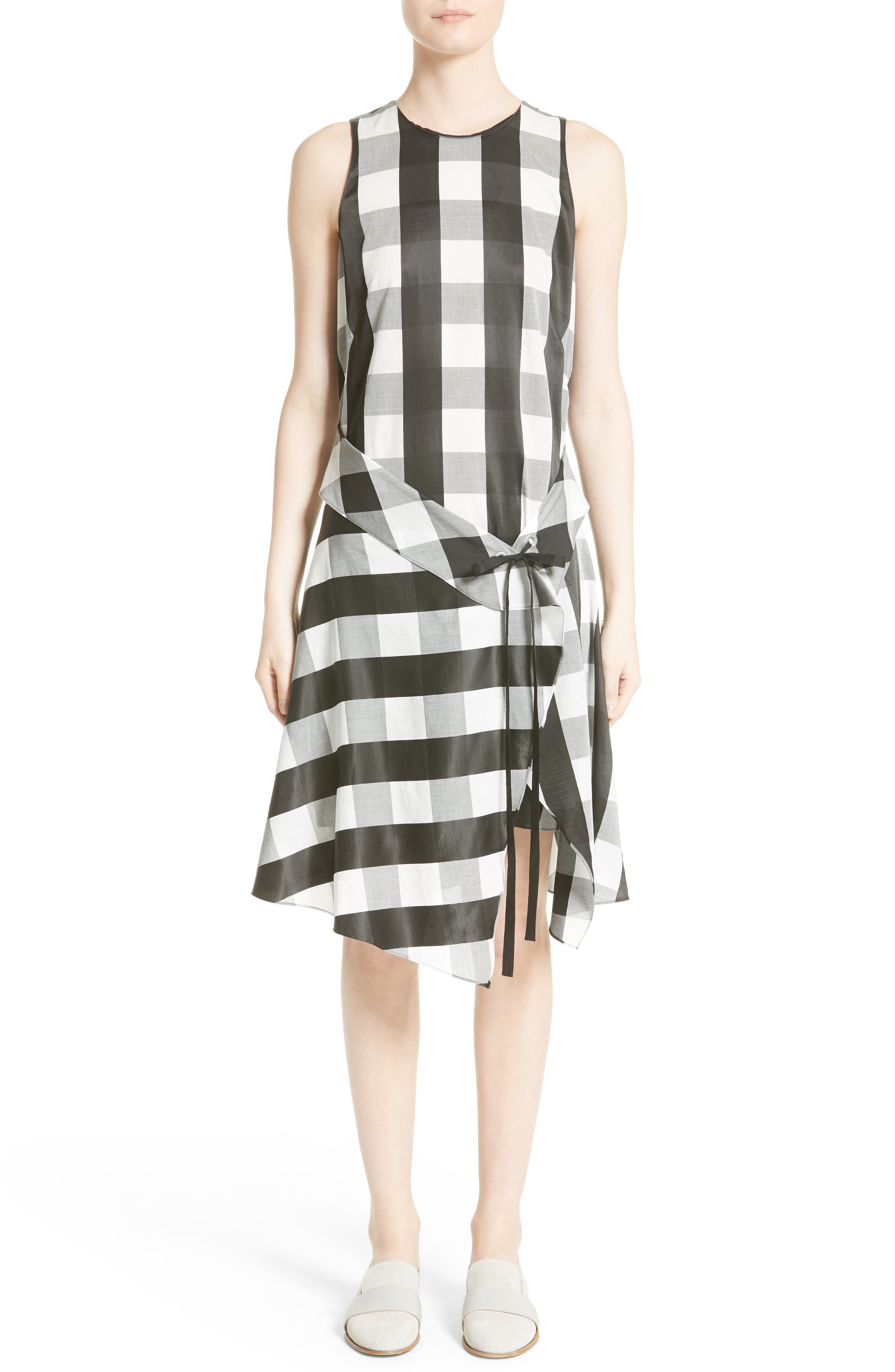 Brighton Asymmetrical Dress,                             Alternate thumbnail 5, color,                             Black/ White