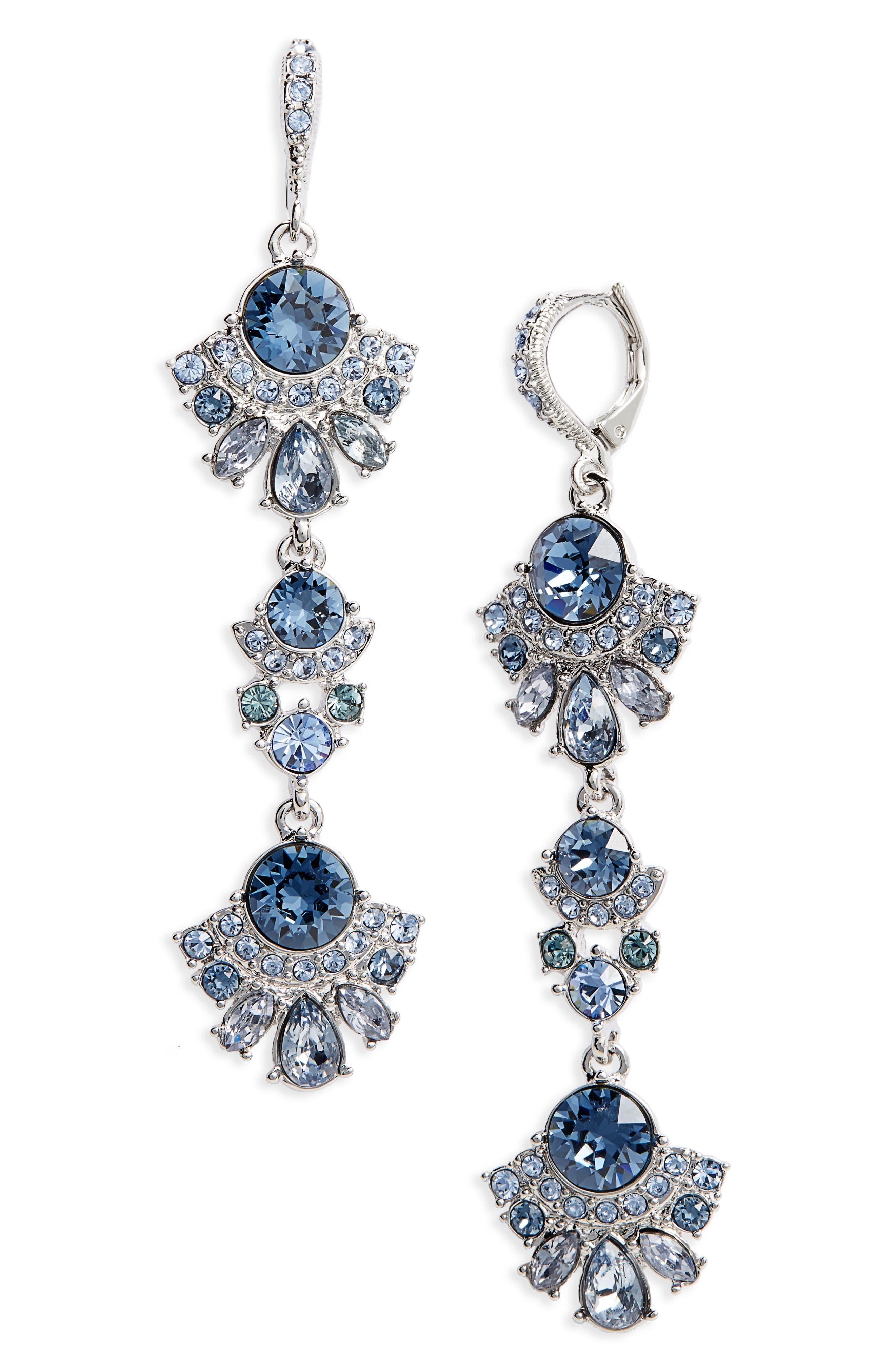 Verona Linear Earrings,                         Main,                         color, Blue / Silver