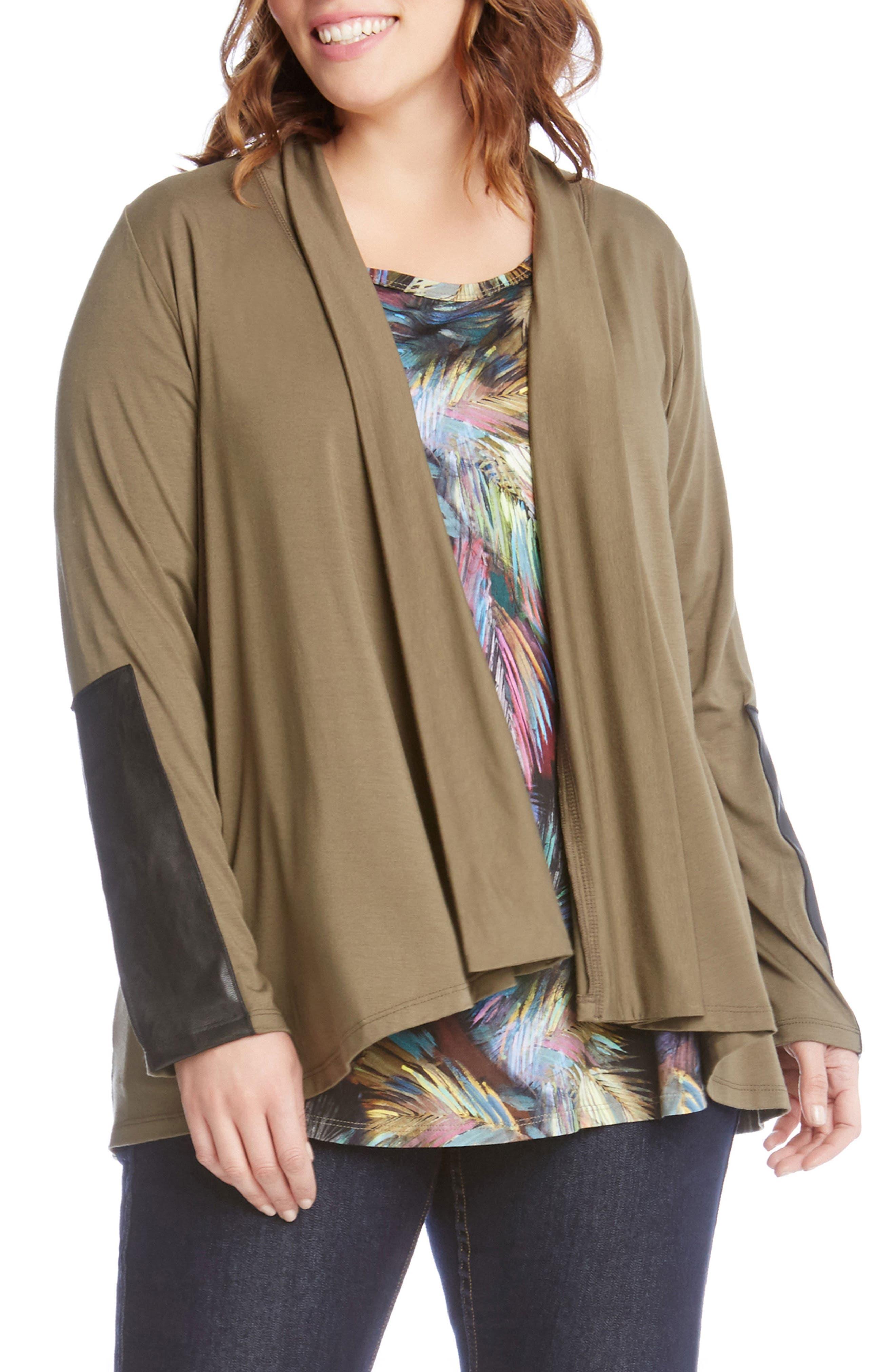 Faux Leather Patch Jacket,                         Main,                         color, Sage