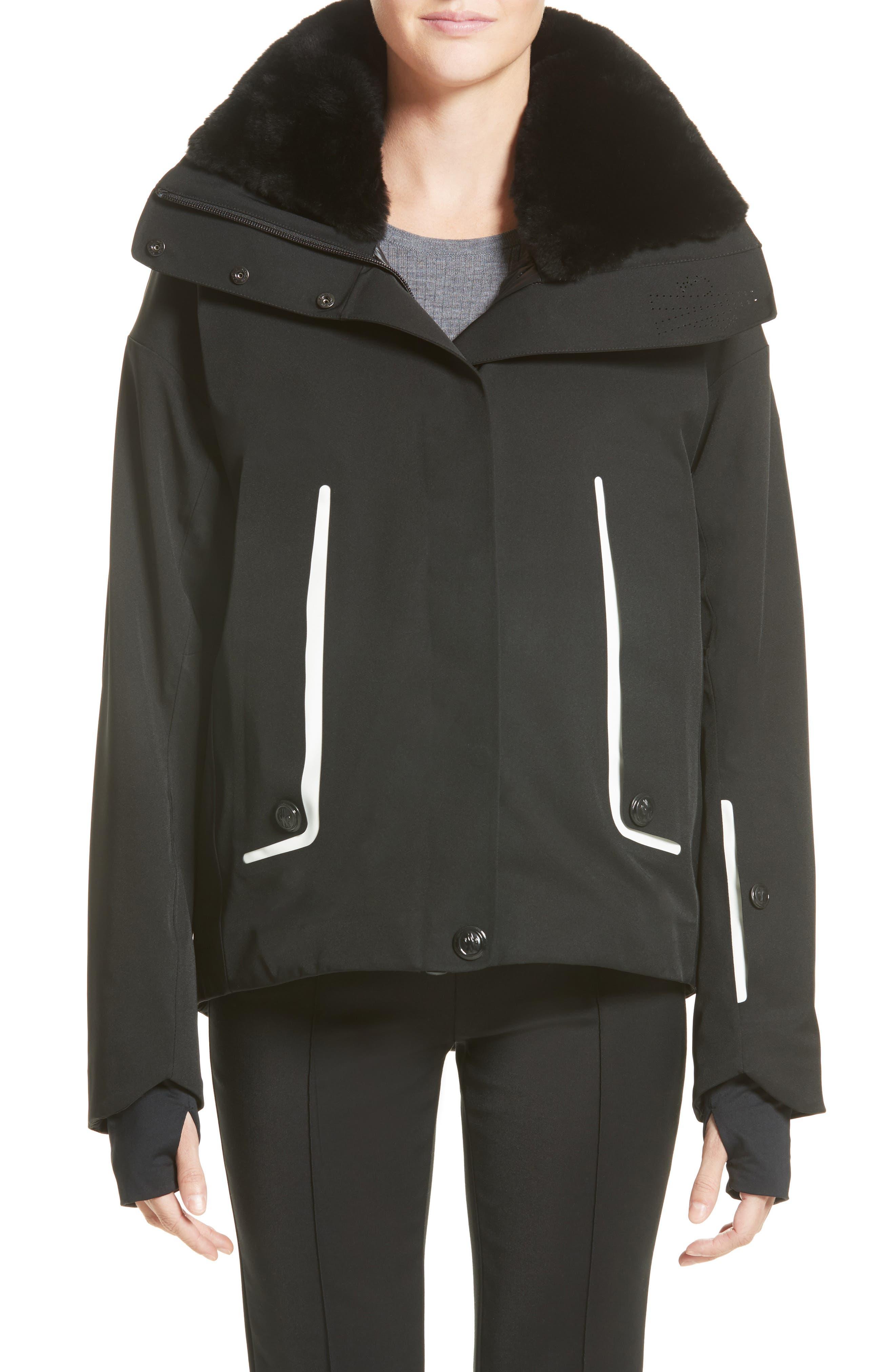 Troisvallees Jacket with Genuine Nutria Fur Collar,                             Main thumbnail 1, color,                             Black/ White