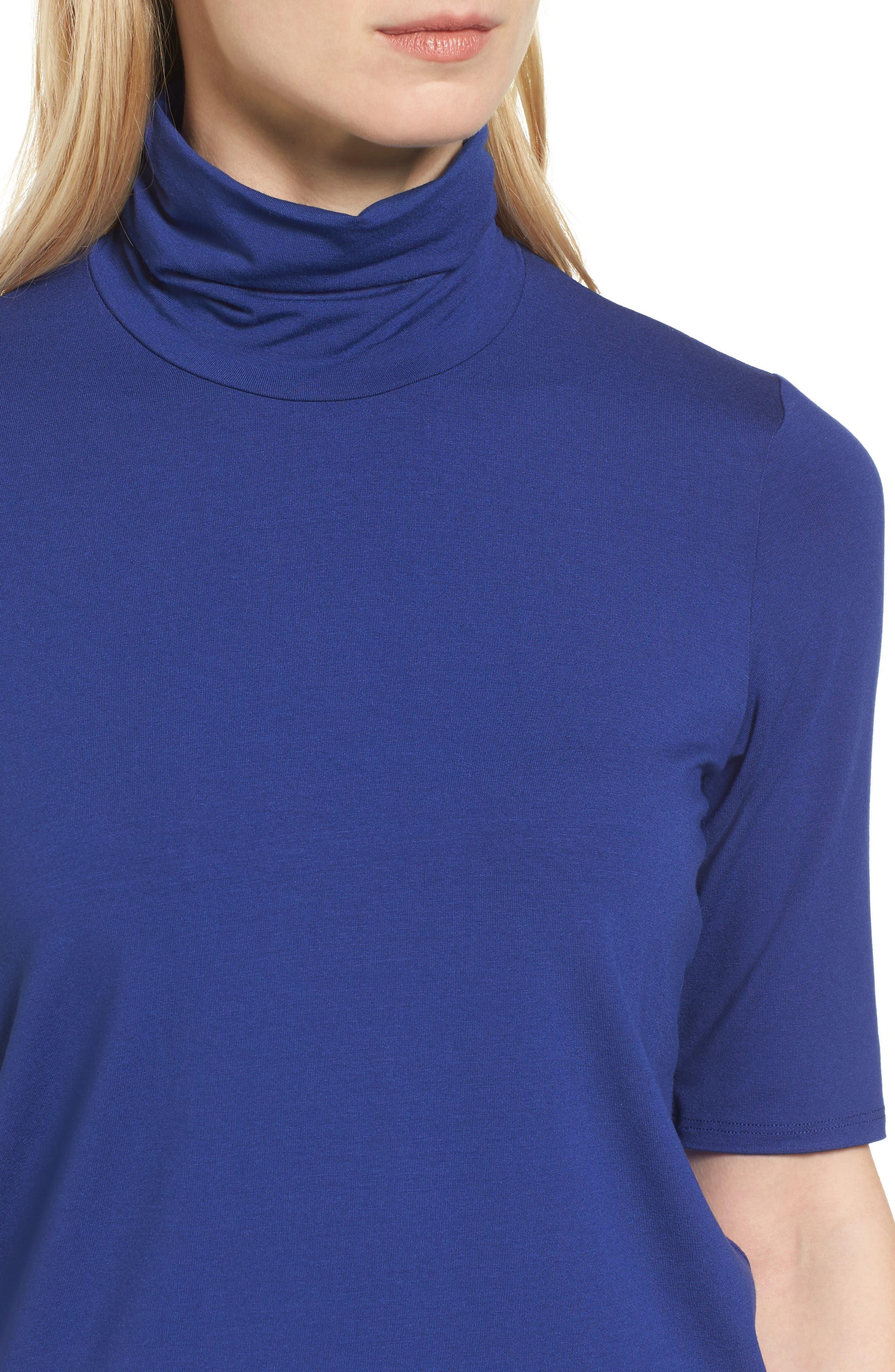 Alternate Image 4  - Eileen Fisher Scrunch Neck Jersey Top (Regular & Petite)