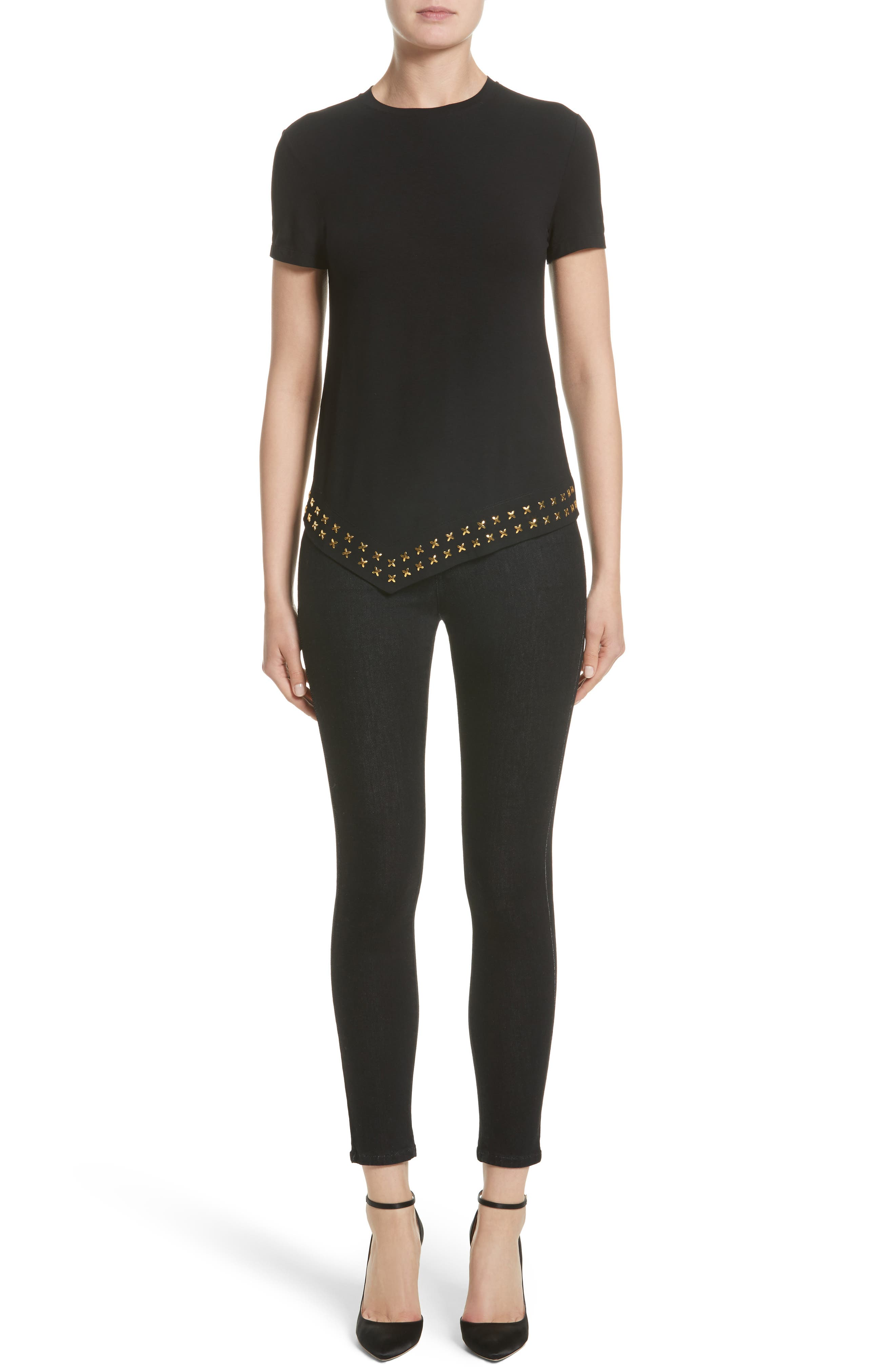 Alternate Image 7  - Versace Collection Hardware Embellished Jersey Asymmetrical Top