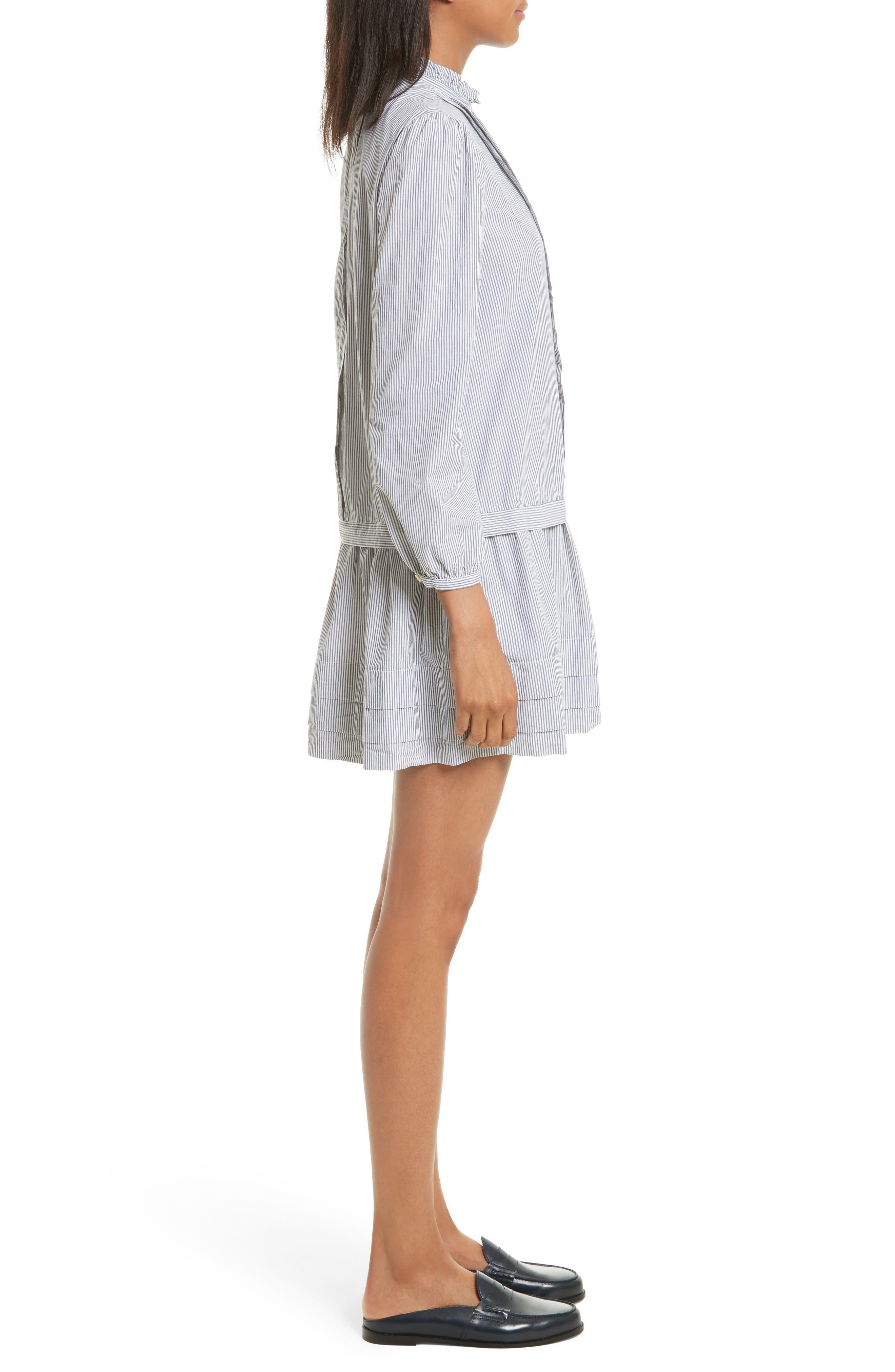 Cotton Shirtdress,                             Alternate thumbnail 3, color,                             Black/ Milk