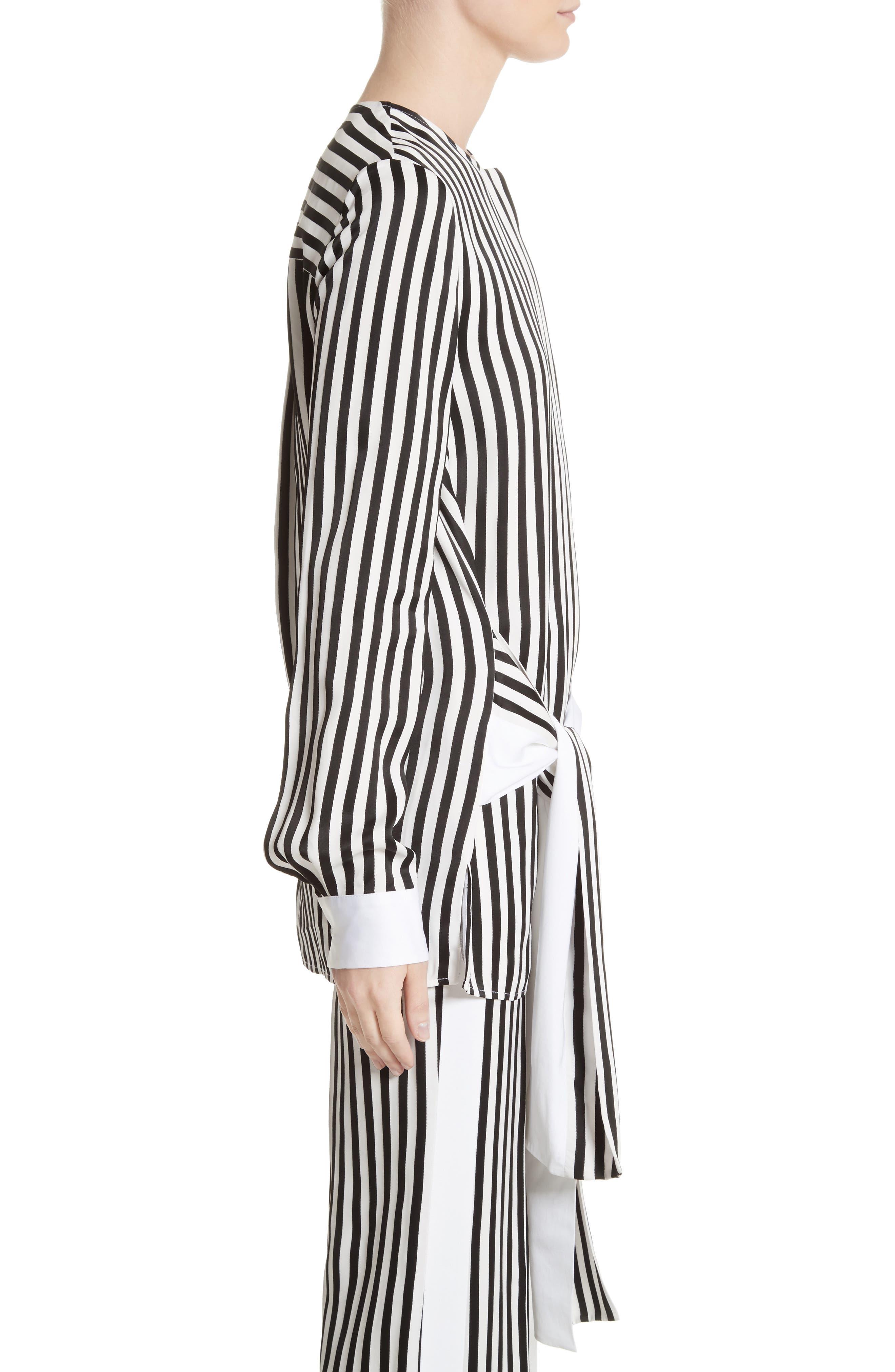 Stripe Tie Waist Blouse,                             Alternate thumbnail 4, color,                             Black/ White
