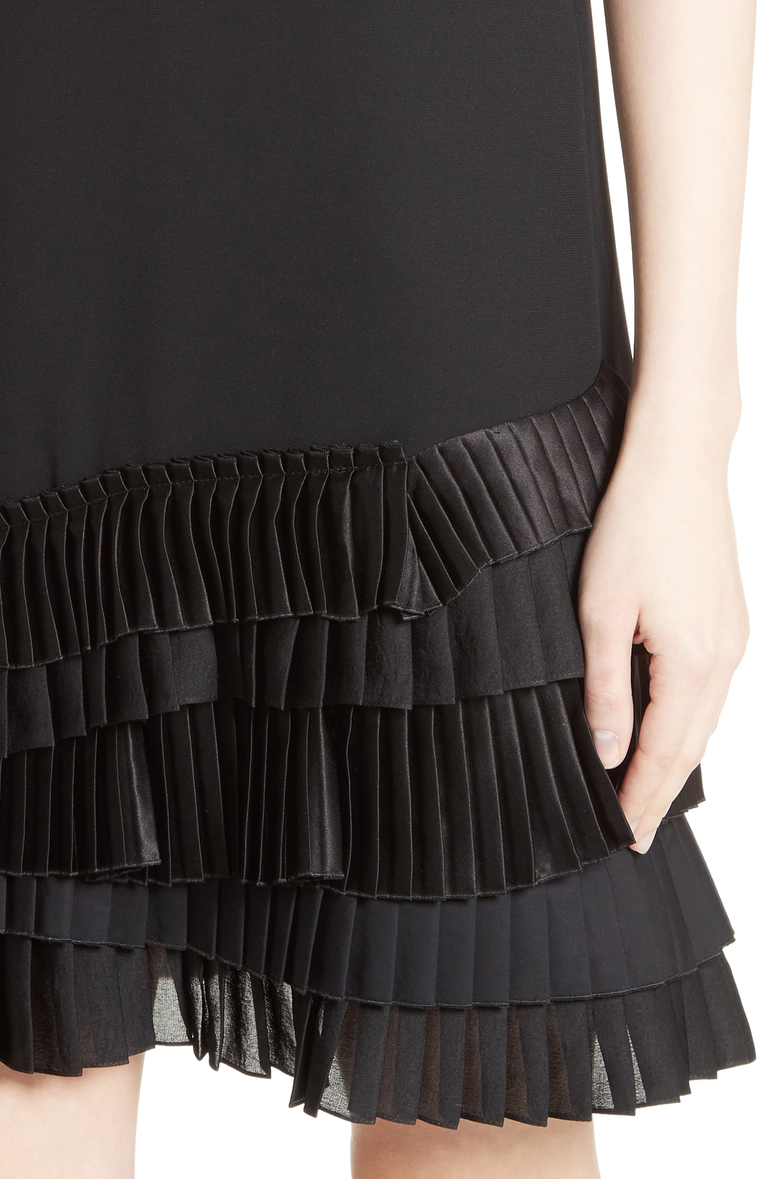 Alternate Image 4  - Victoria, Victoria Beckham Pleated Hem Shift Dress