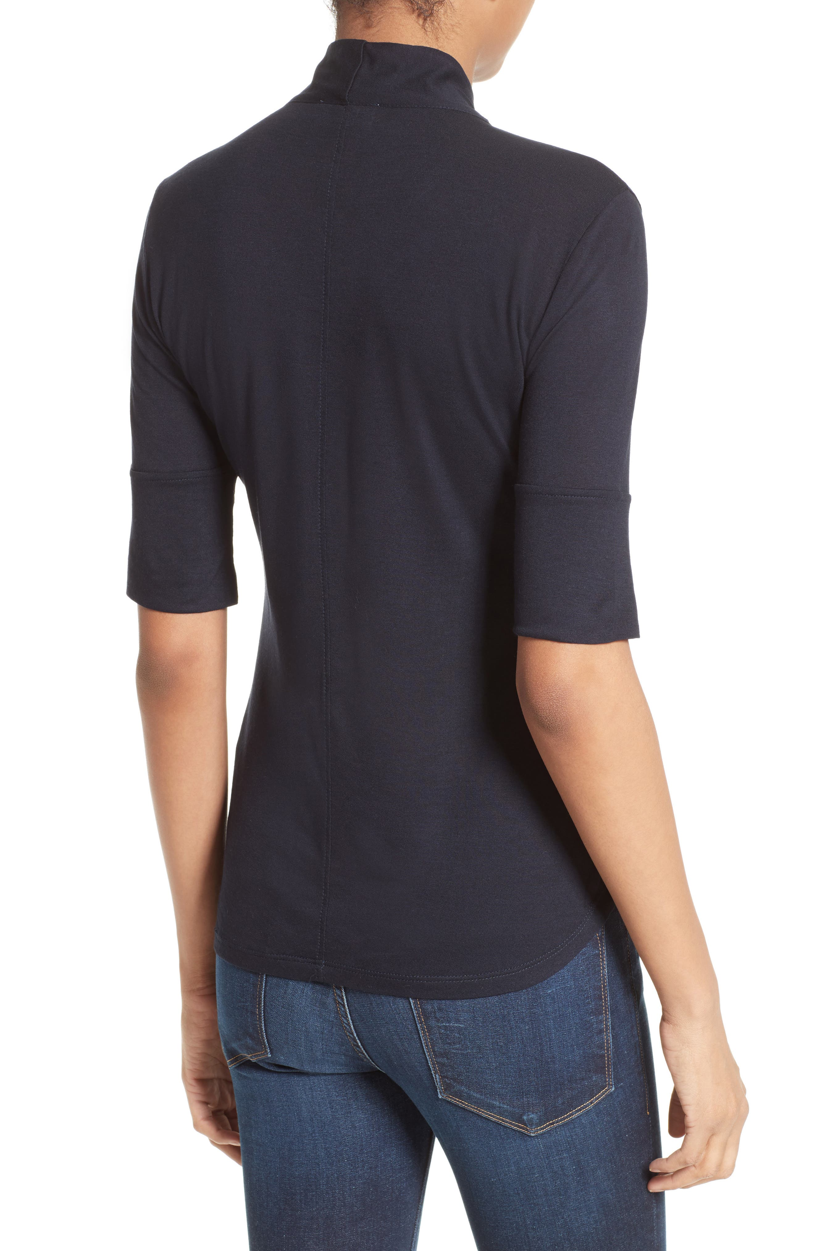 Tie Neck Top,                             Alternate thumbnail 3, color,                             Navy