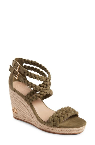 87d8c8186d17 Tory Burch Bailey 90Mm Ankle Strap Wedge Espadrilles In Banana Leaf