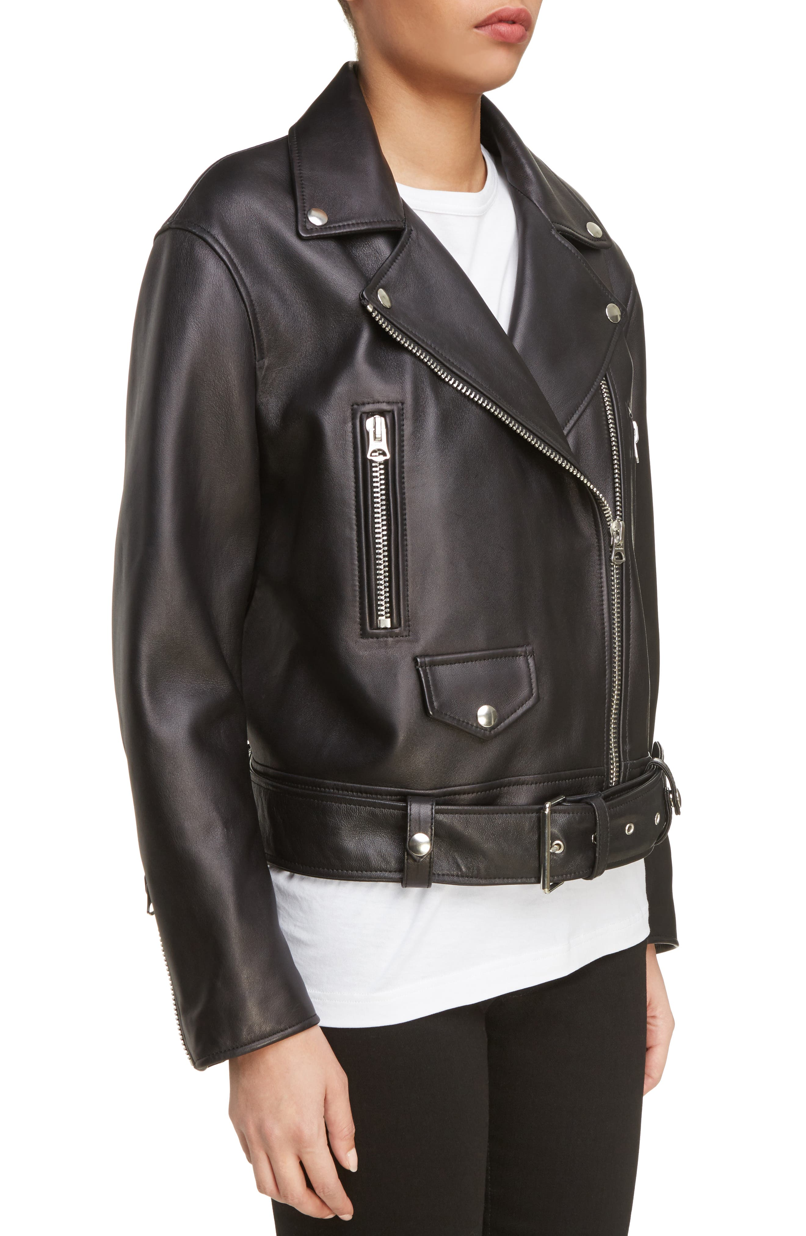 Merlyn Leather Moto Jacket,                             Alternate thumbnail 5, color,                             Black