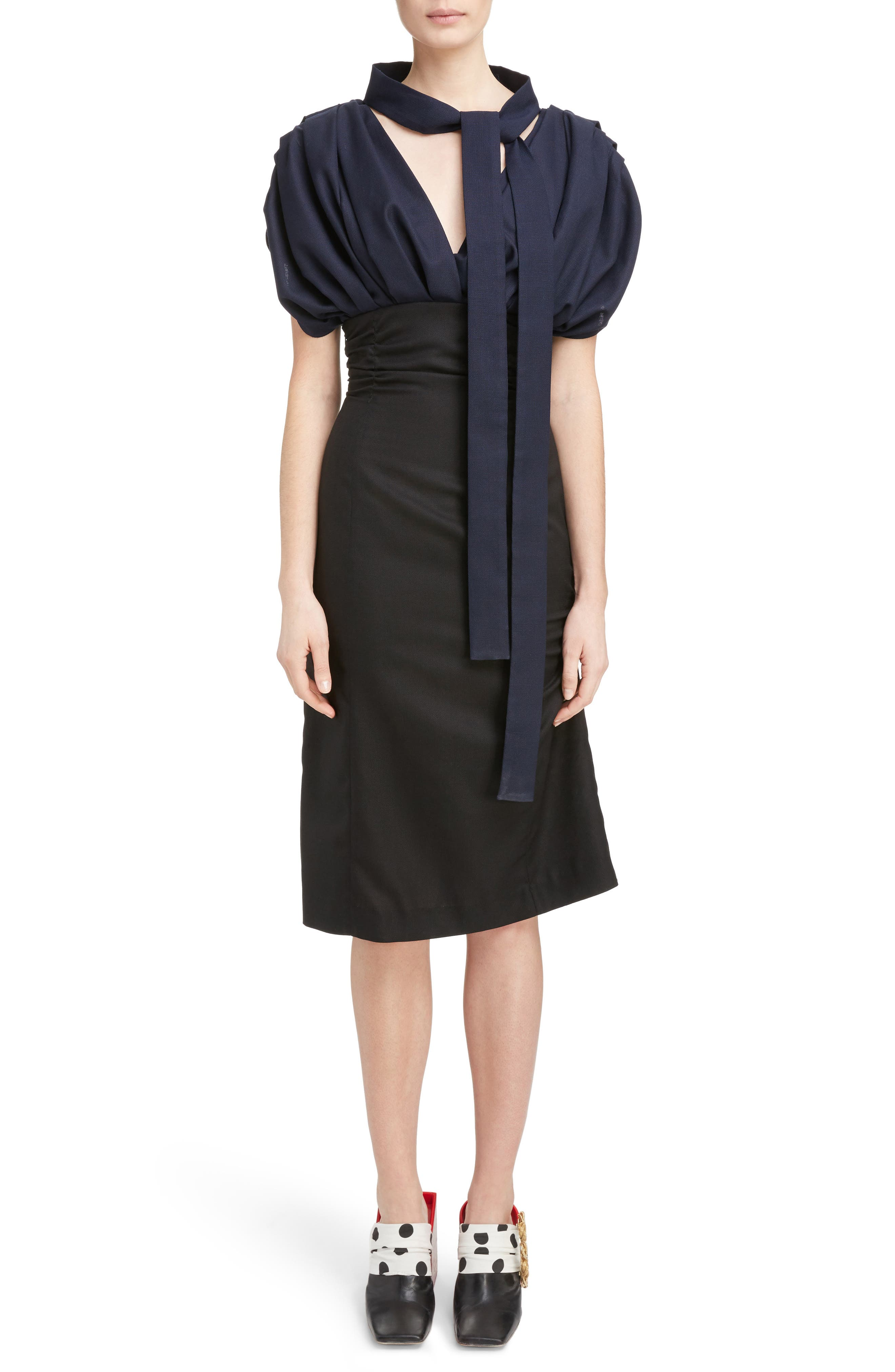 Ruched Tie Neck Dress,                         Main,                         color, Navy Black