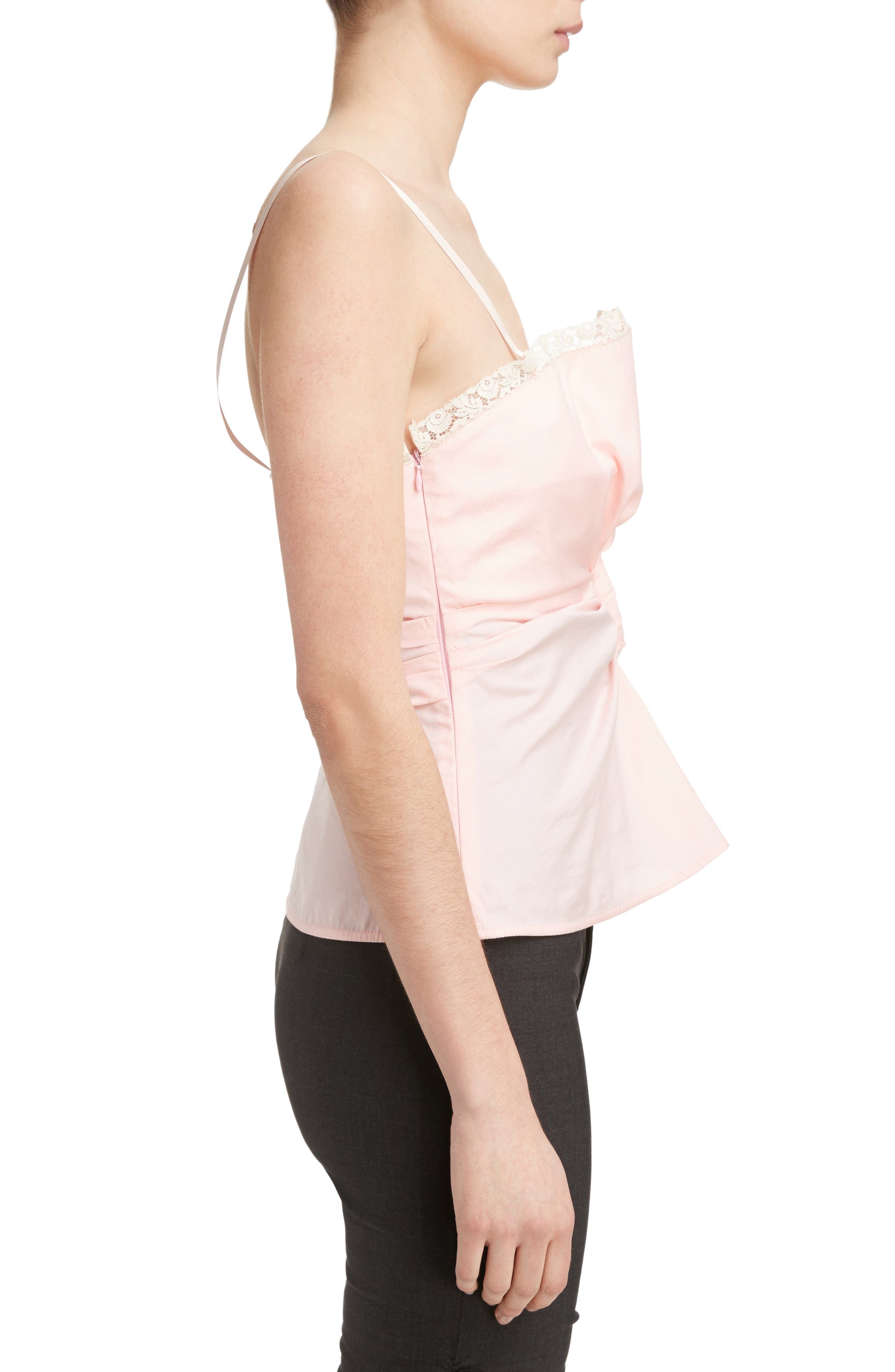 Ruched Camisole Top,                             Alternate thumbnail 3, color,                             Pink