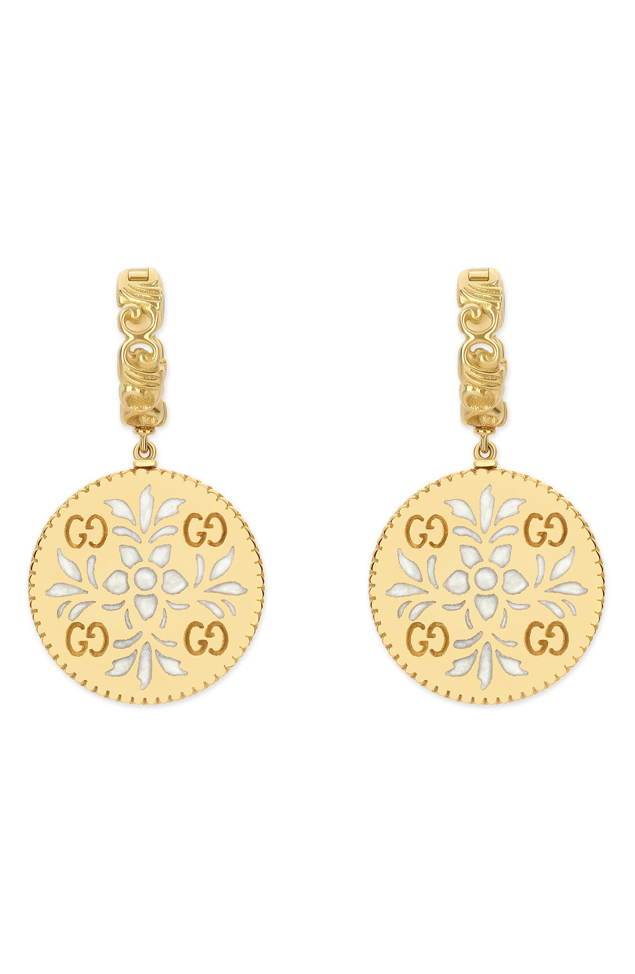 Icon Blooms Drop Earrings,                         Main,                         color, Yellow Gold